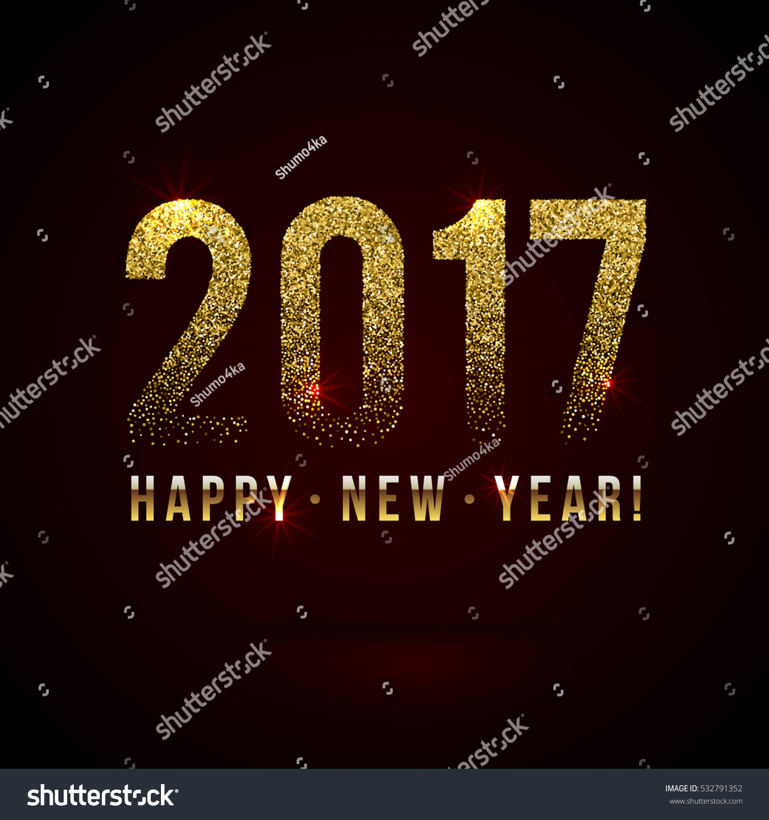 happy new year 2017 shiny greeting card made of glitter particles party poster banner