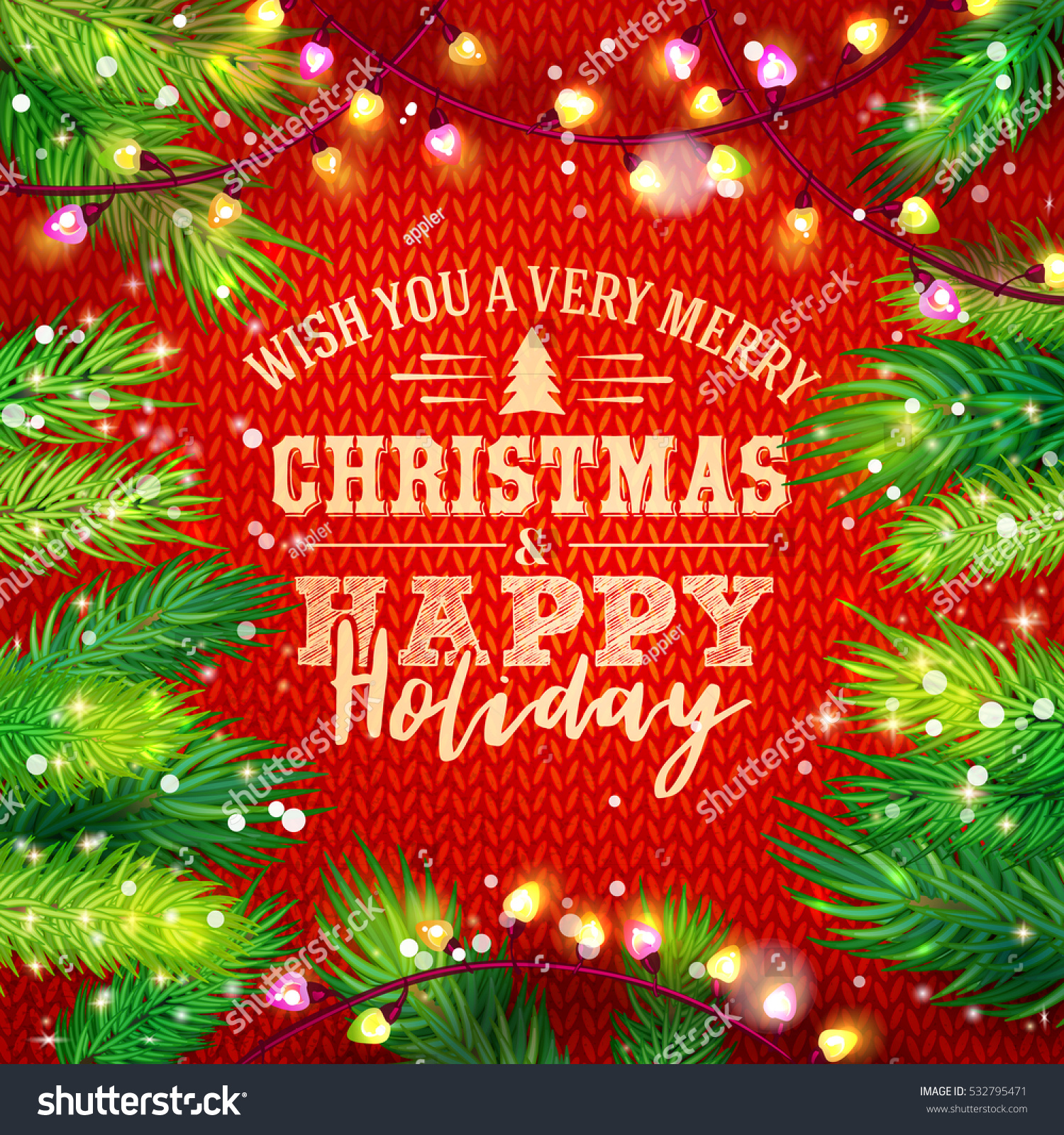 Wish You Merry Christmas Happy Holiday Stock Vector Royalty Free