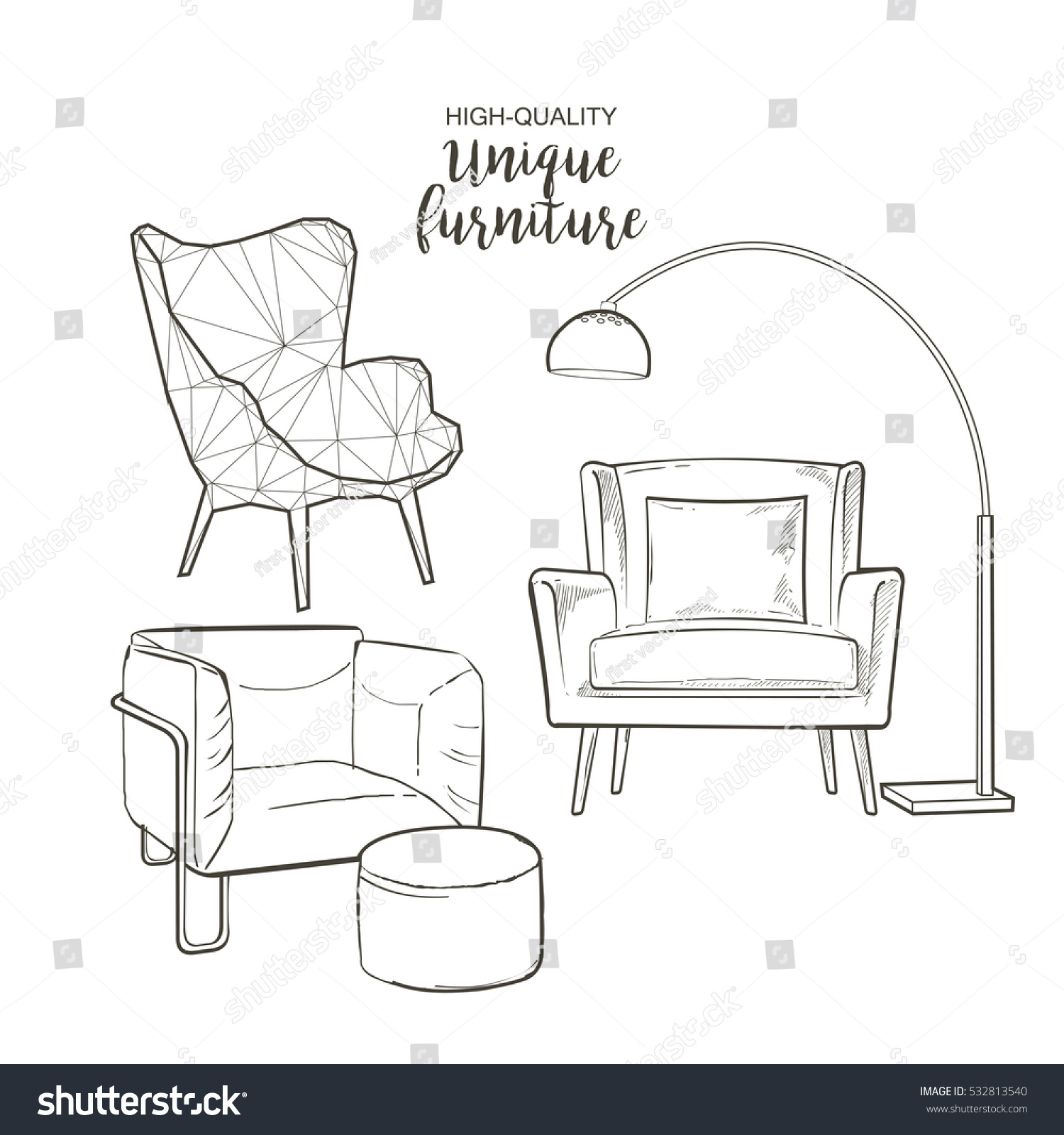 Set Hand Drawn Furniture Interior Detail Stock Vector 532813540 ...