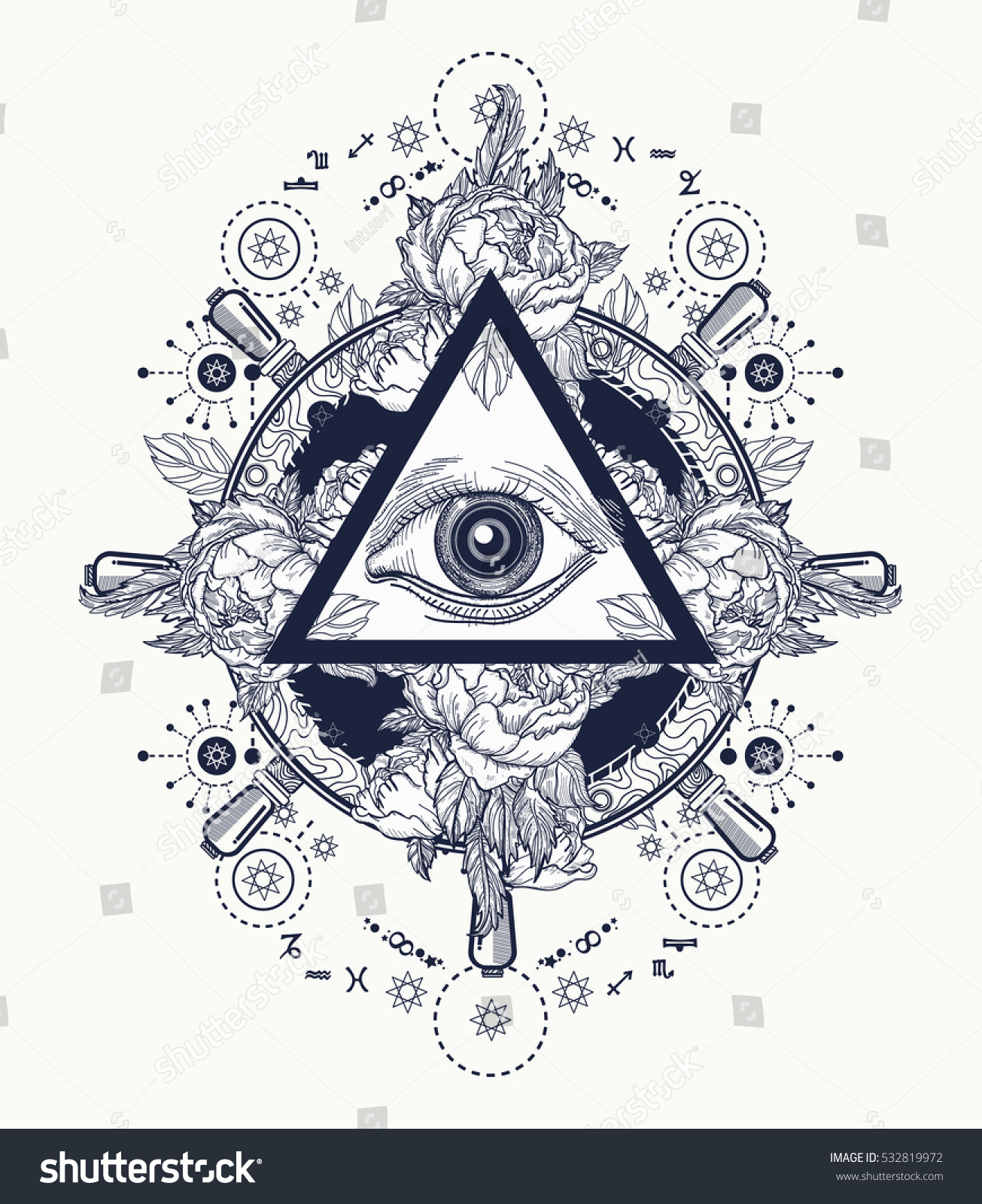 All seeing eye pyramid tattoo art stock vector 532819972 for Eye tattoo art