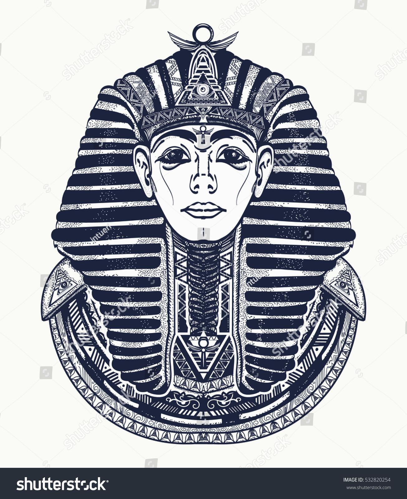 89549d01a Pharaoh tattoo art t-shirt design. Great king of ancient Egypt. Tutankhamen  mask ethnic style