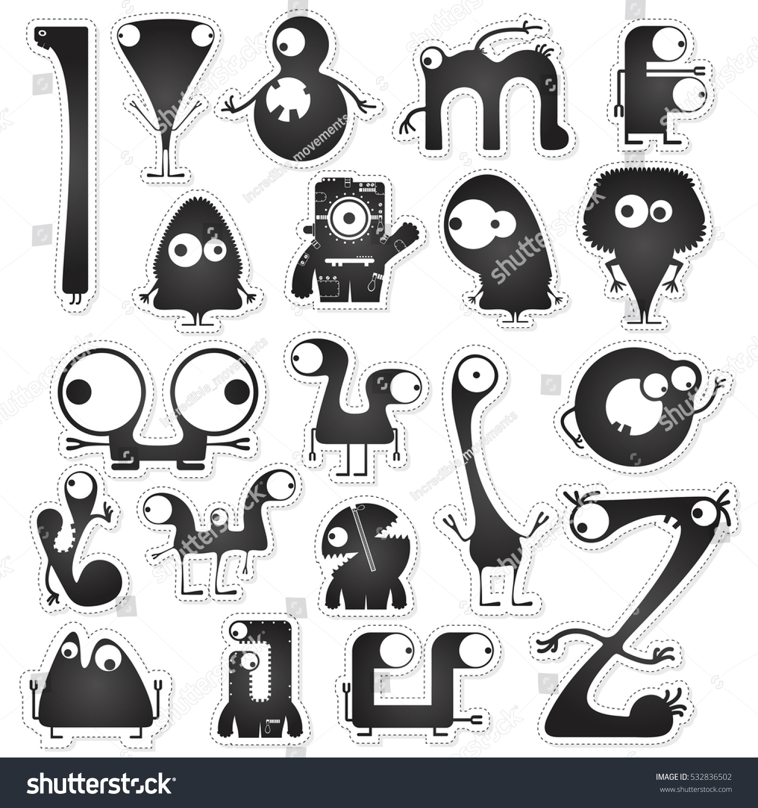 set twenty black white cute monsters stock vector (royalty free