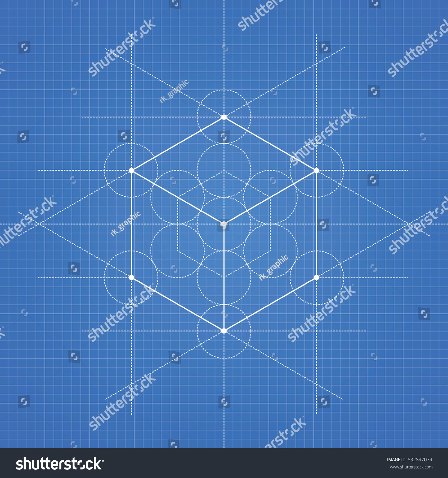 Hexahedron A Vector Illustration Of On Blueprint Technical Paper Background