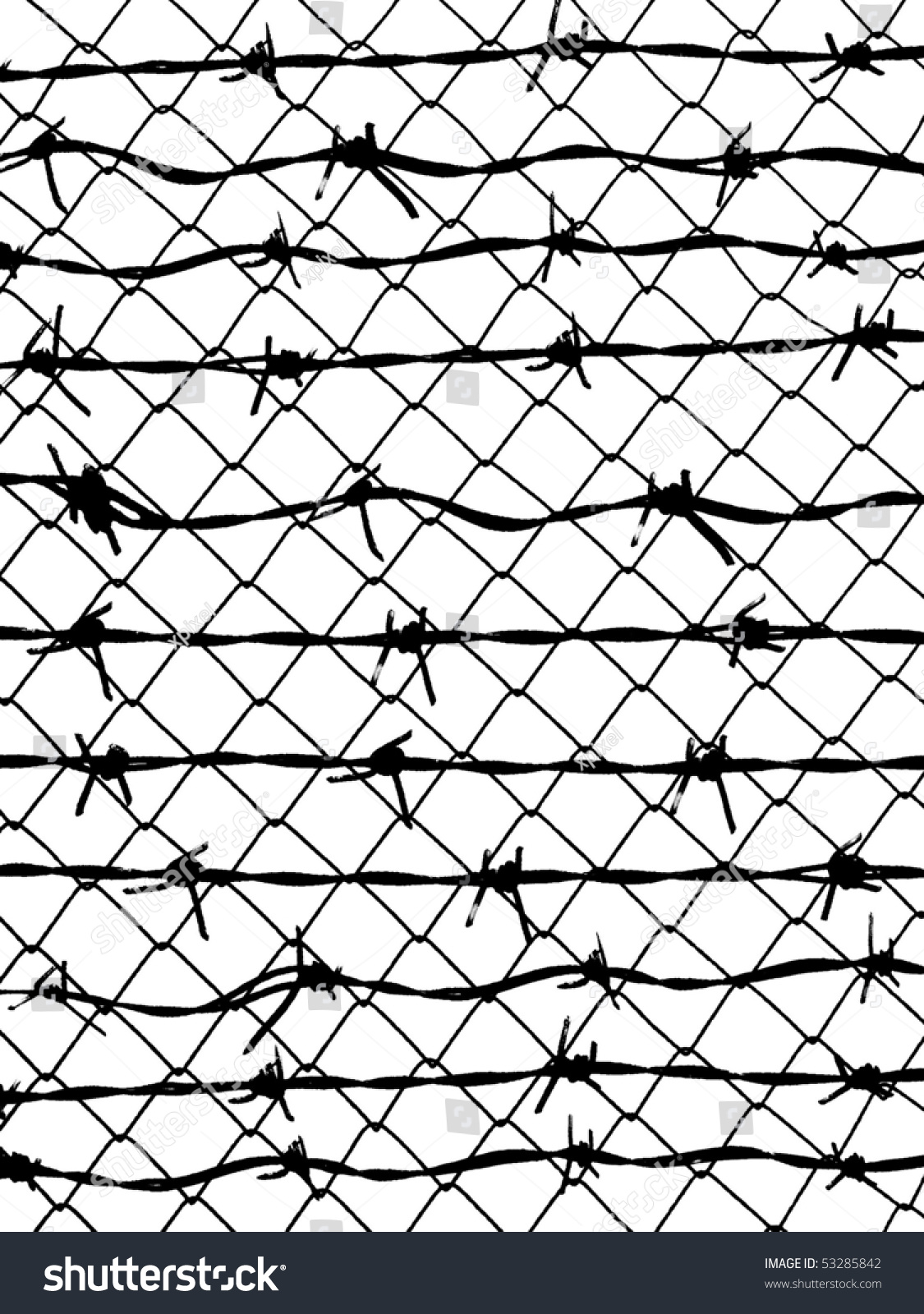 Posterize Barbed Wire Fence Protection Isolated Stock Illustration ...