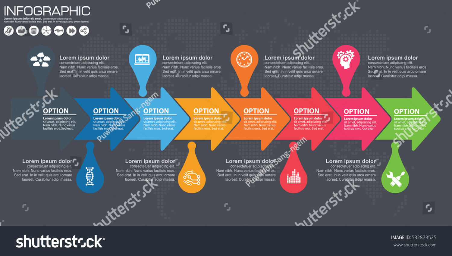 Timeline arrow vector infographic world map stock vector 532873525 timeline and arrow vector infographic world map background gumiabroncs Image collections