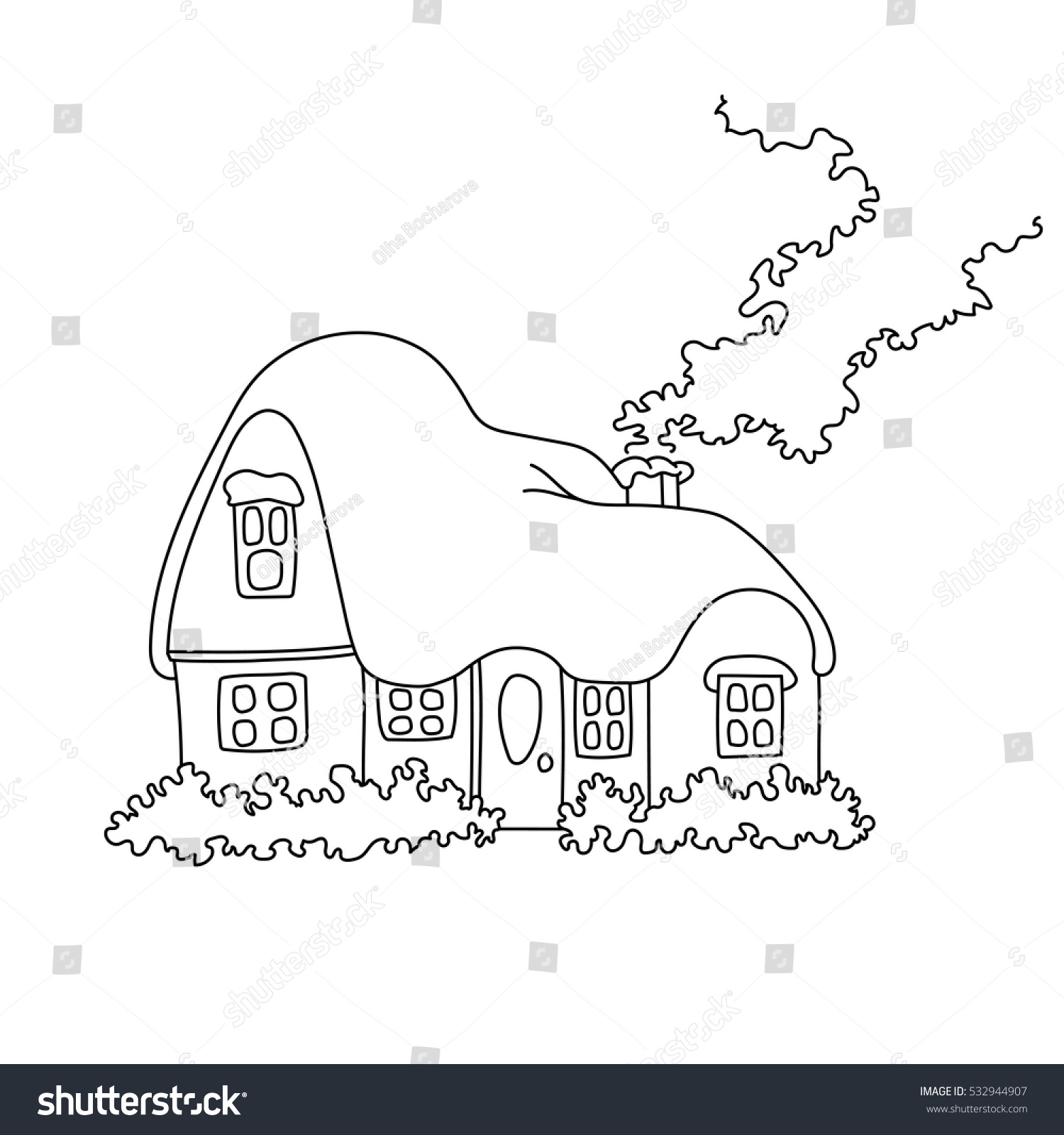 vector illustration winter home snow coloring stock vector