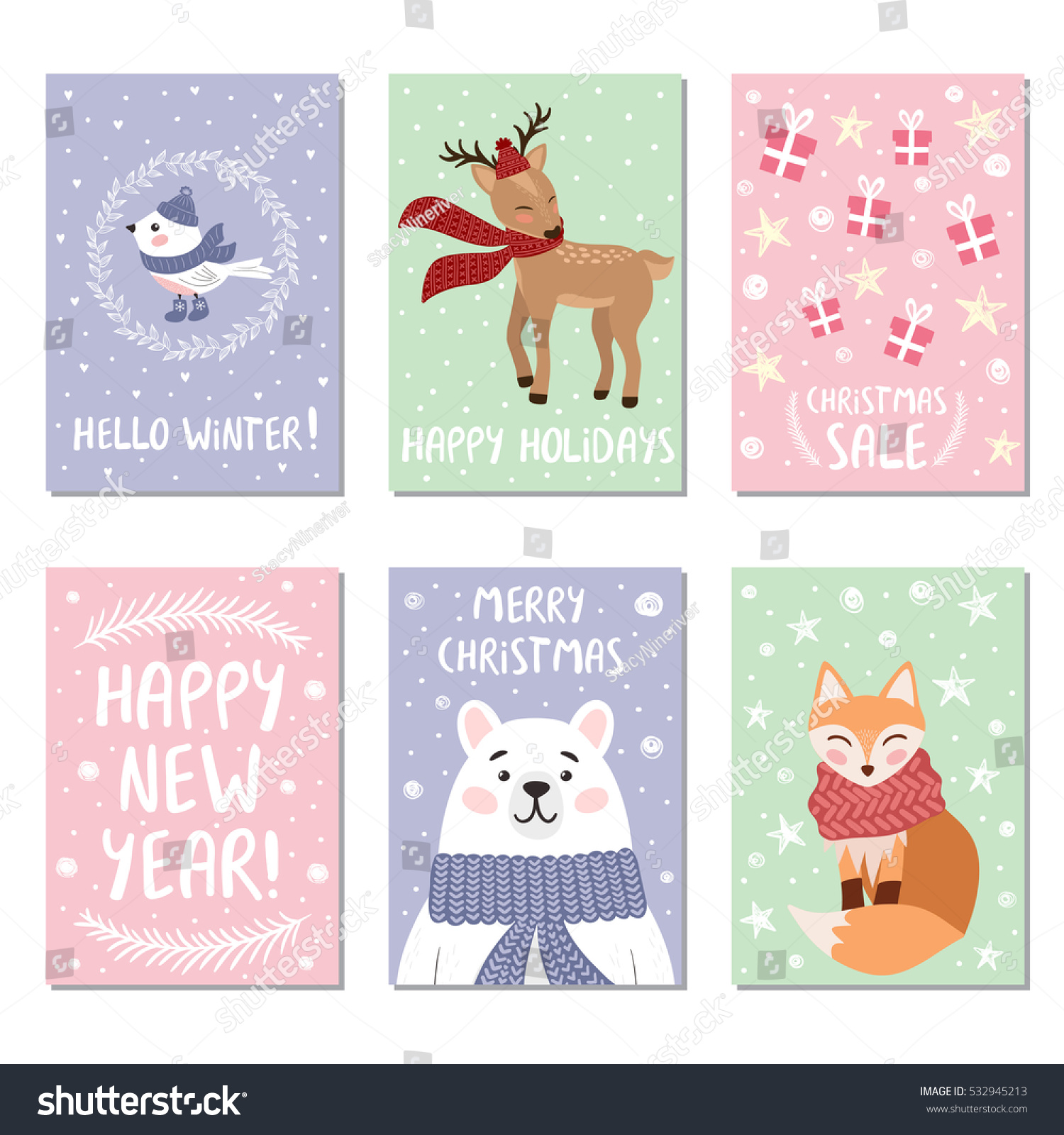 christmas cards with funny animals and cute bird vector illustration for winter holidays - Animal Christmas Cards