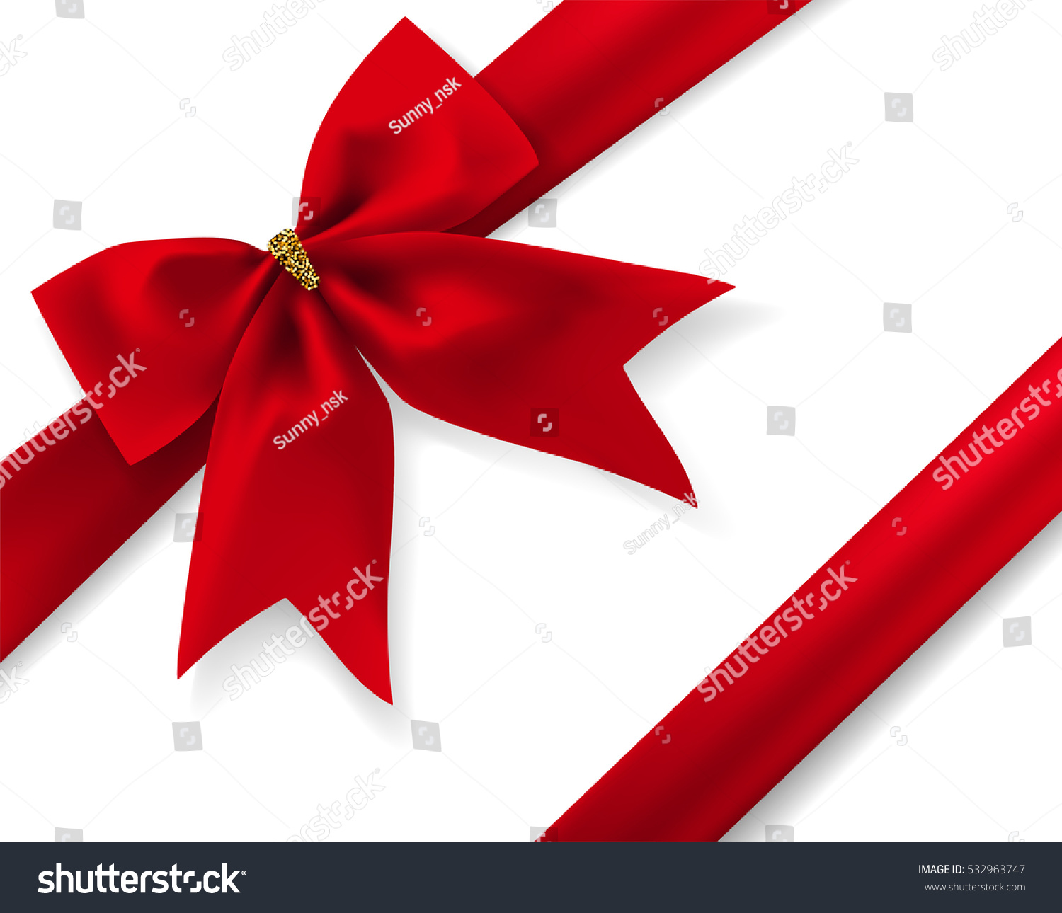 Red gift bows border with clipping path for easy background removing - Beautiful Red Diagonal Bow With Ribbon And Transparent Shadow Isolated On White Background Vector Illustration Romantic
