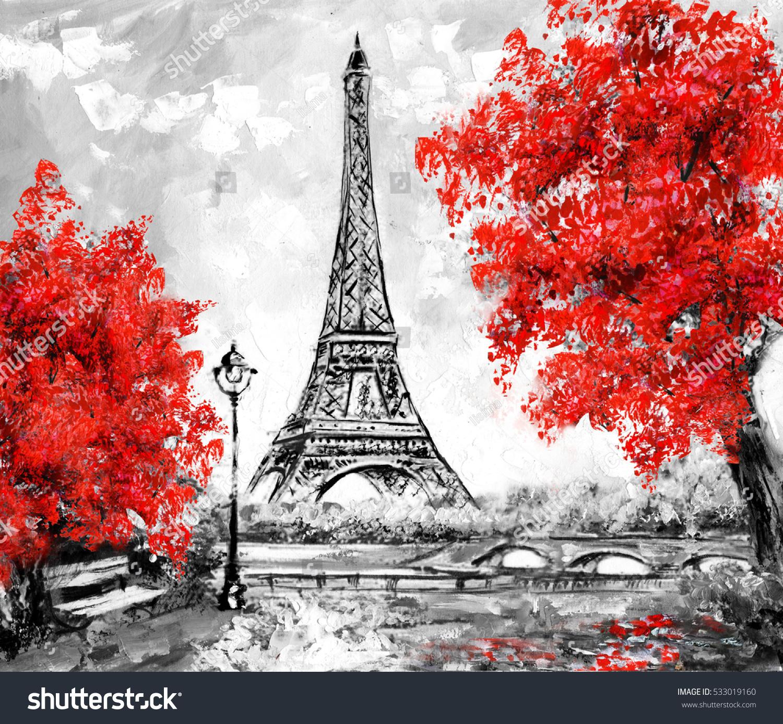 Oil Painting Paris European City Landscape Stock Illustration