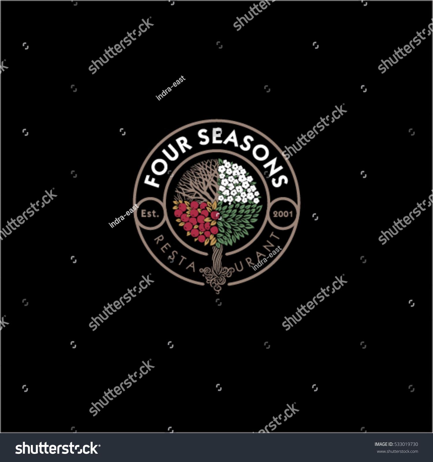 four seasons restaurant logo restaurant hotel stock vector