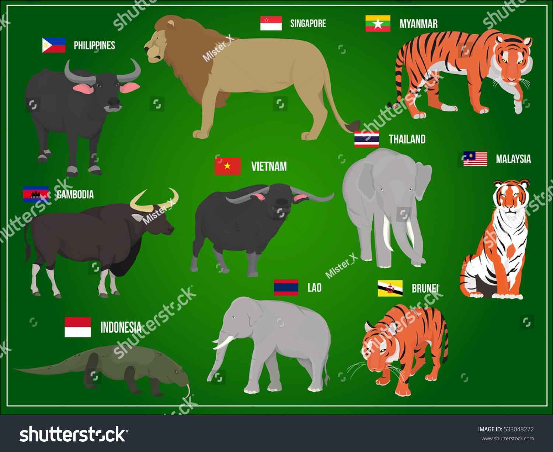 Vector illustration national animals asia countries stock vector vector illustration national animals of asia countries biocorpaavc
