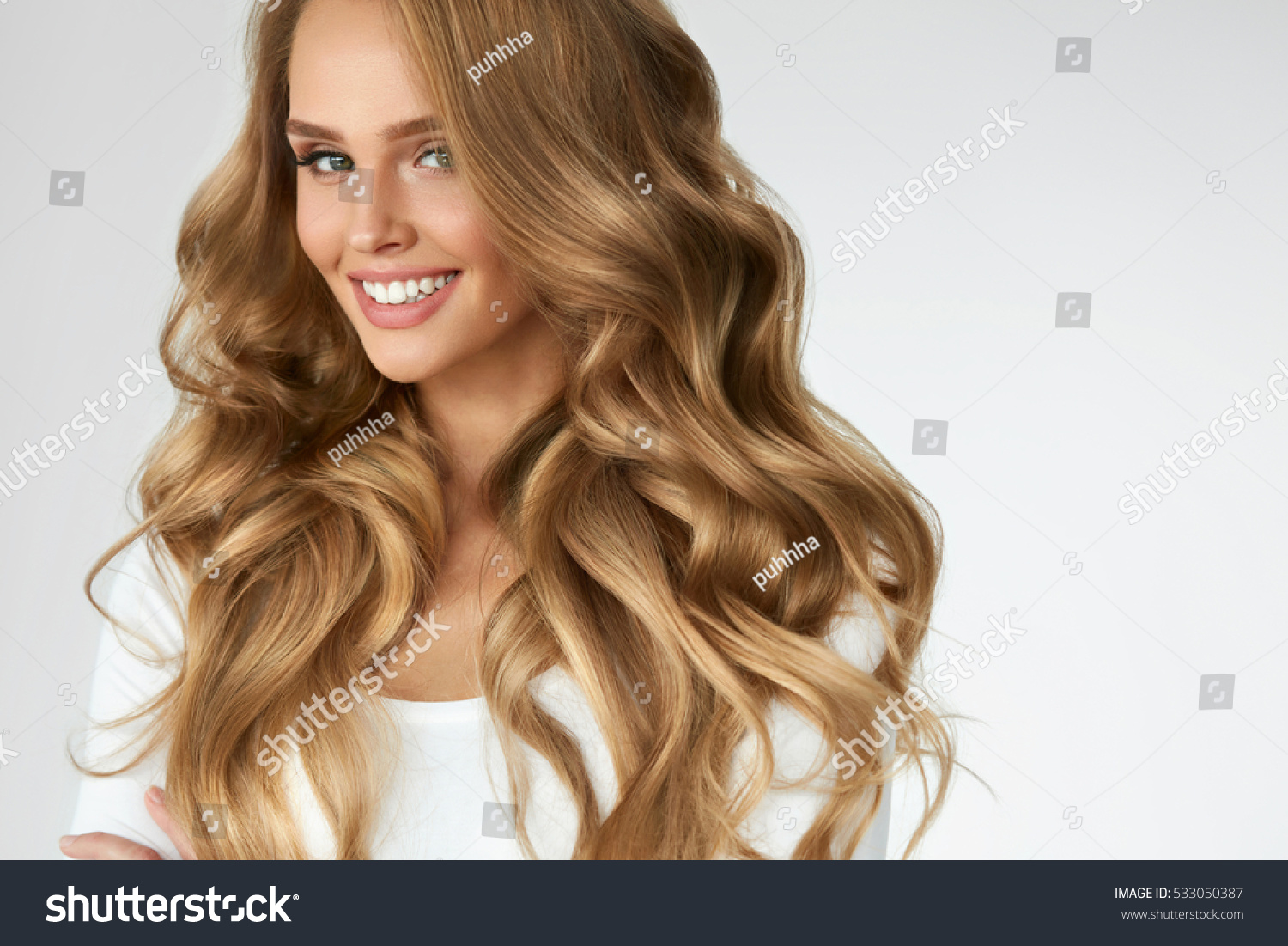 beautiful curly hair smiling girl healthy stock photo (royalty free