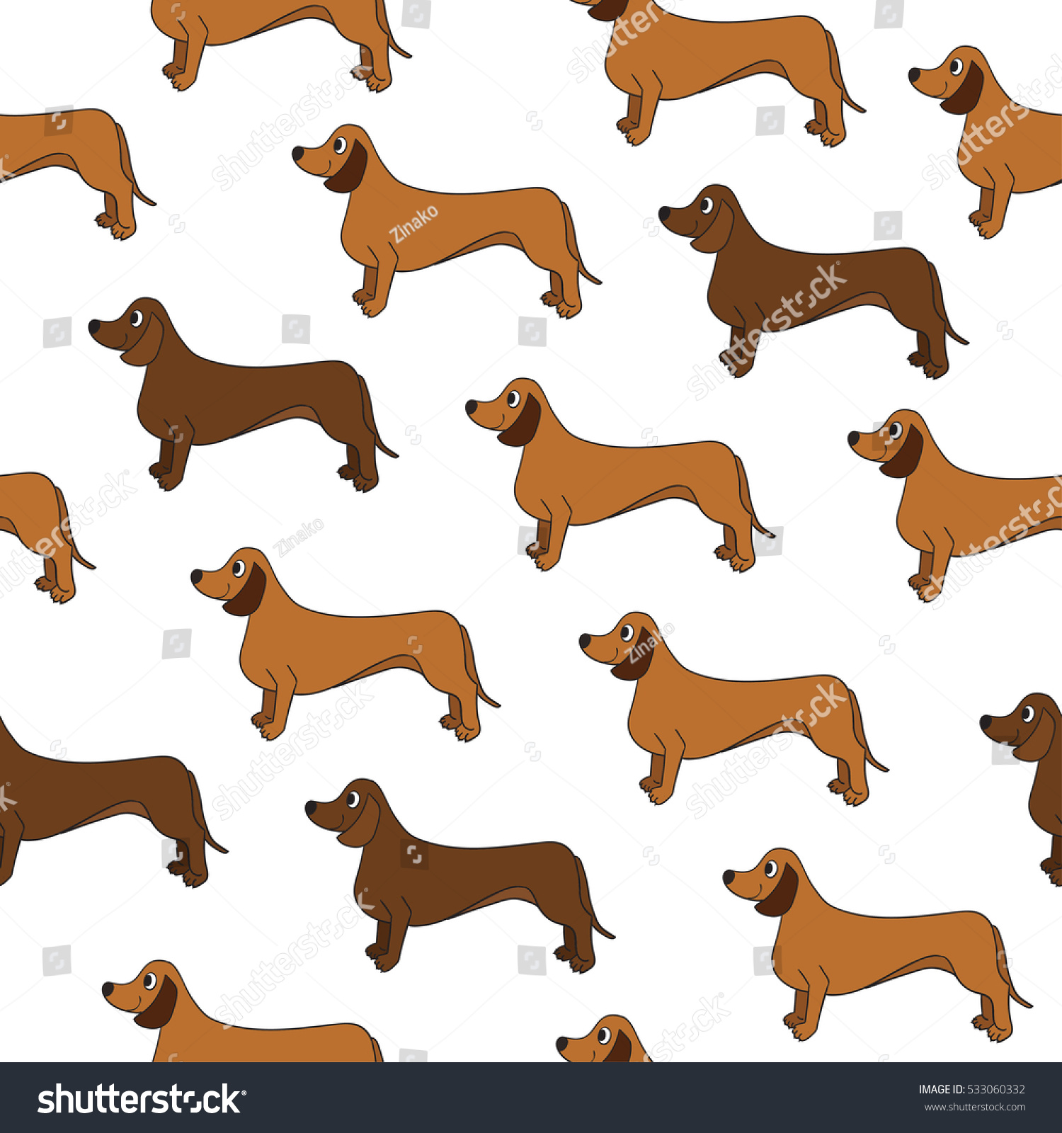 Awesome Seamless Pattern Cute Cartoon Dogs Stock Vector Royalty