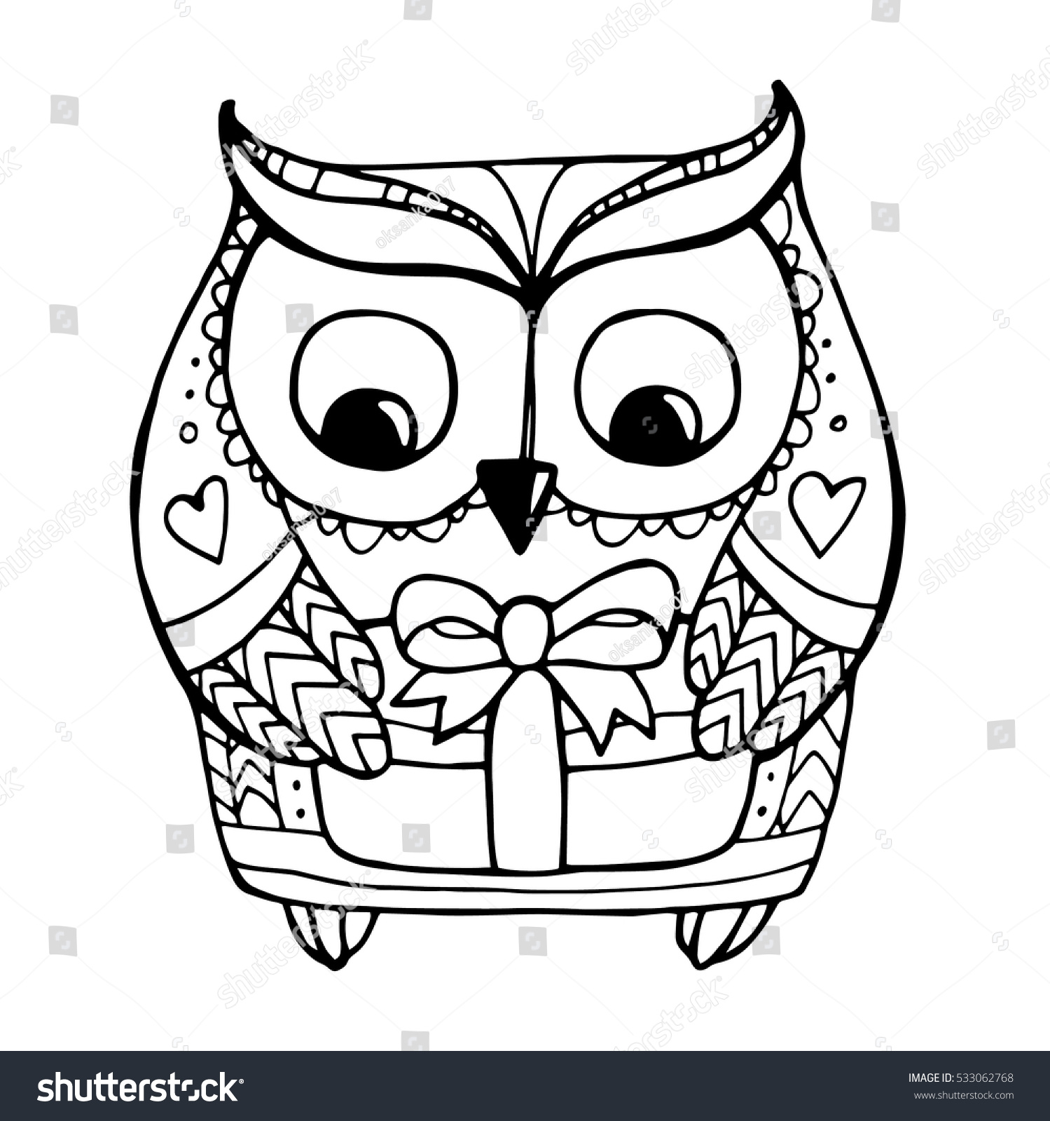 Cute Boho Bohemia Bird Holding Gift Box Vector