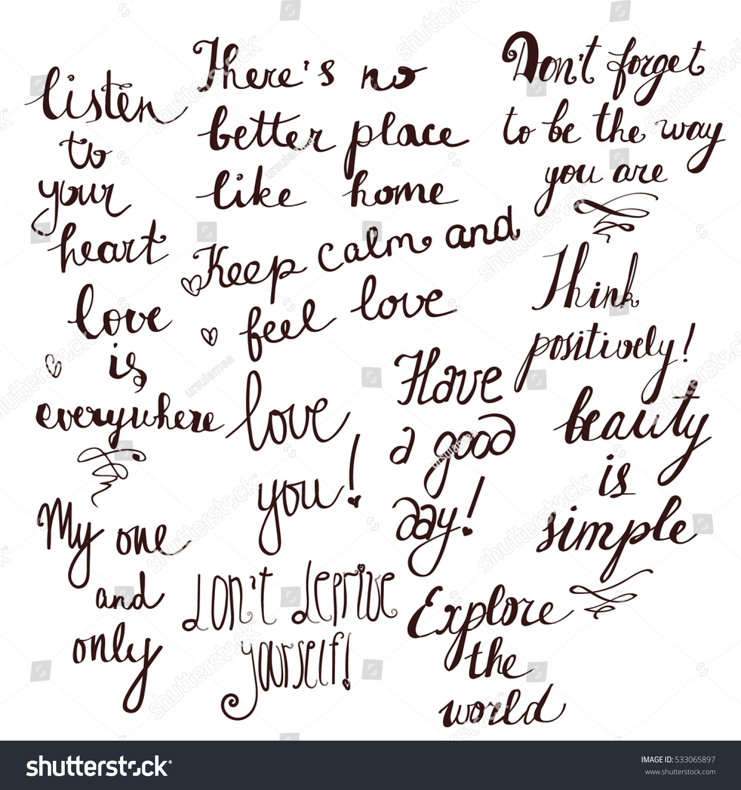 Vector Cute Monochrome Set Of The Warmest And Most Positive Phrases Written In Different Styles