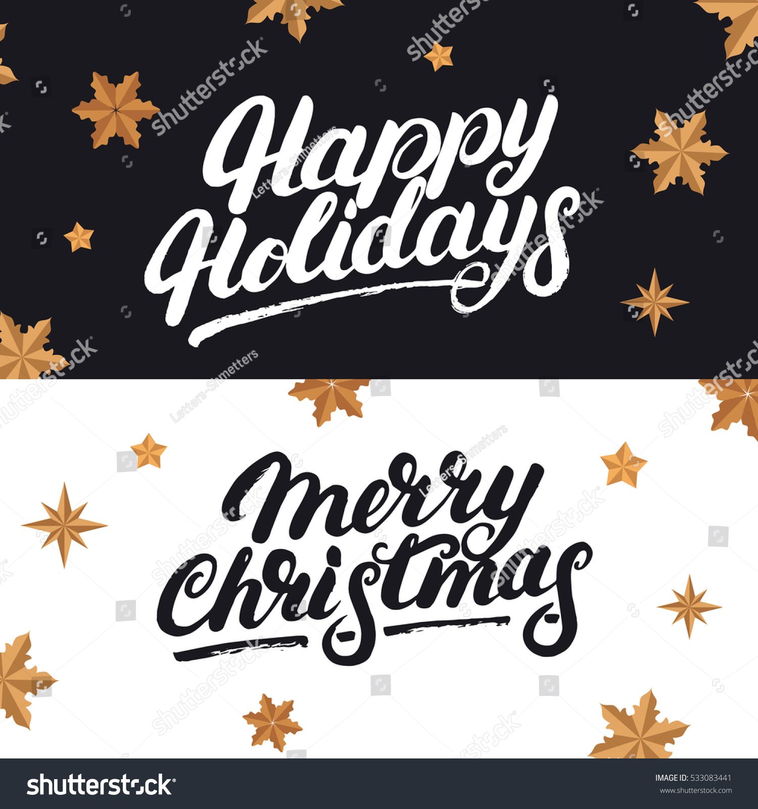 happy holidays and merry christmas hand drawn lettering and realistic stars calligraphy for cards and