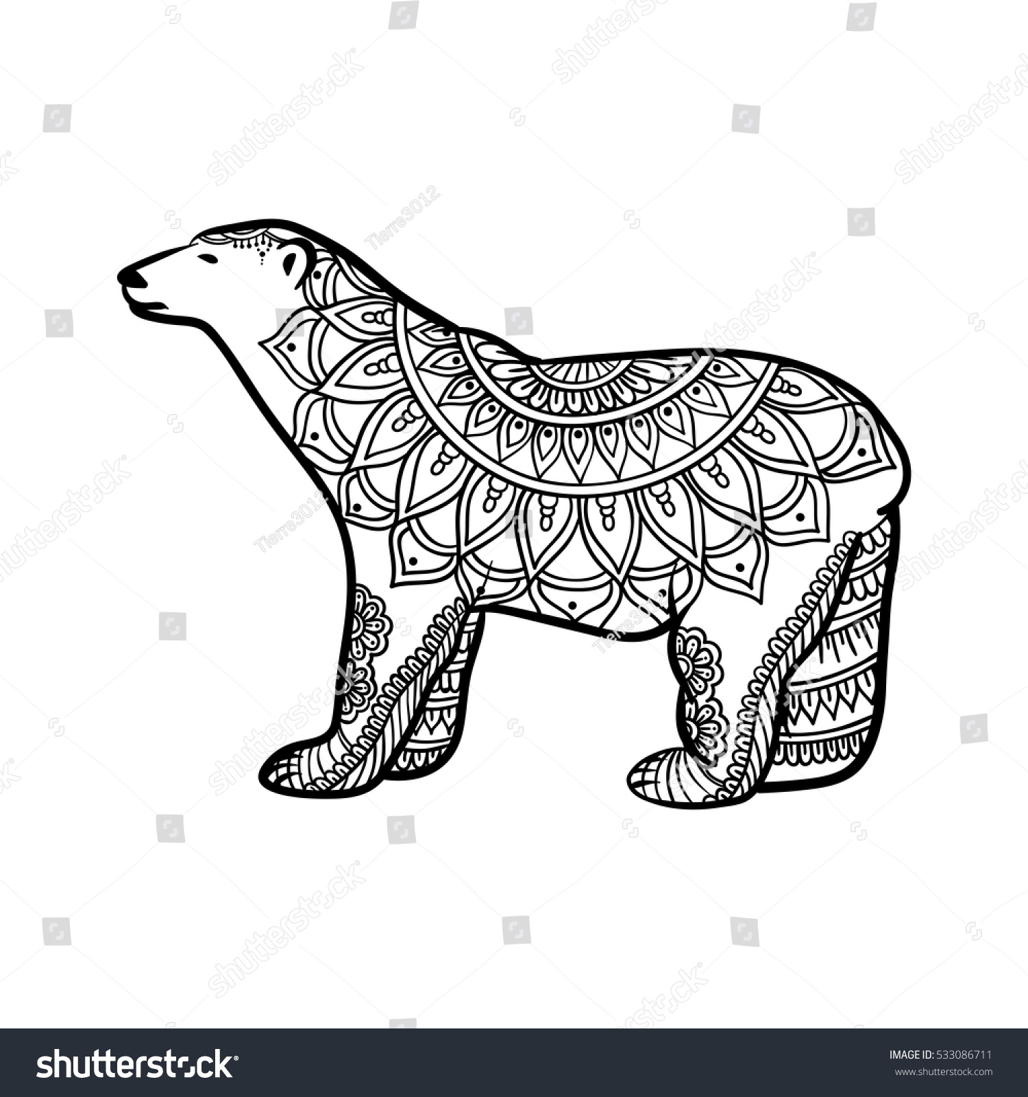 Stylized Polar Bear Illustration Zentangle Doodle Stock Vektorgrafik