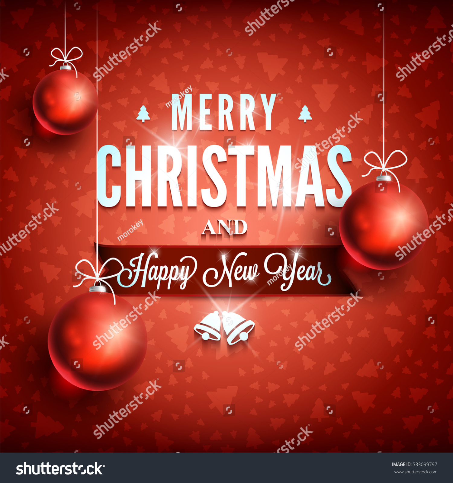 Merry Christmas Happy New Year Message Stock Vector Royalty Free