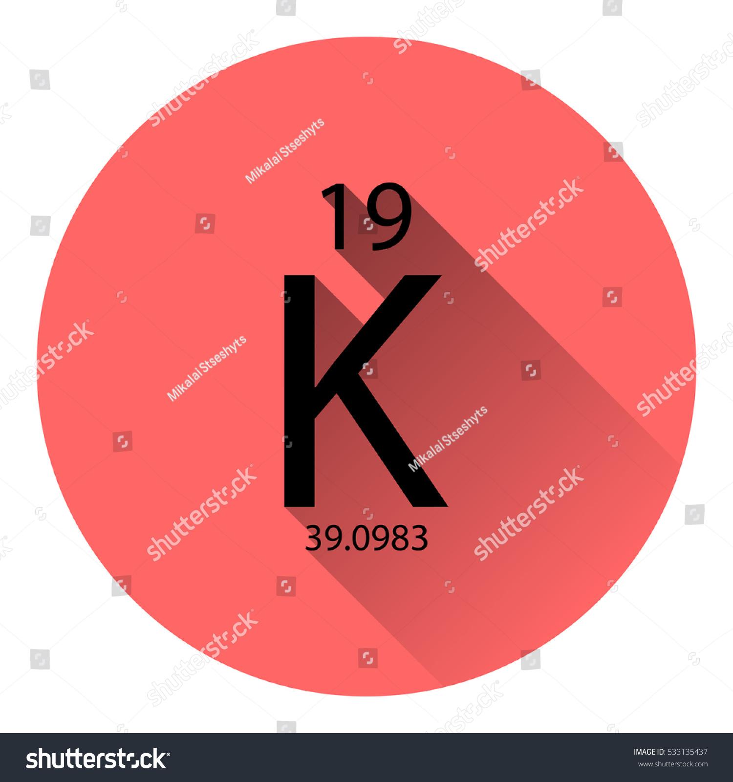 Periodic table element potassium basic properties stock vector the periodic table element potassium with the basic properties flat style with long shadow gamestrikefo Gallery