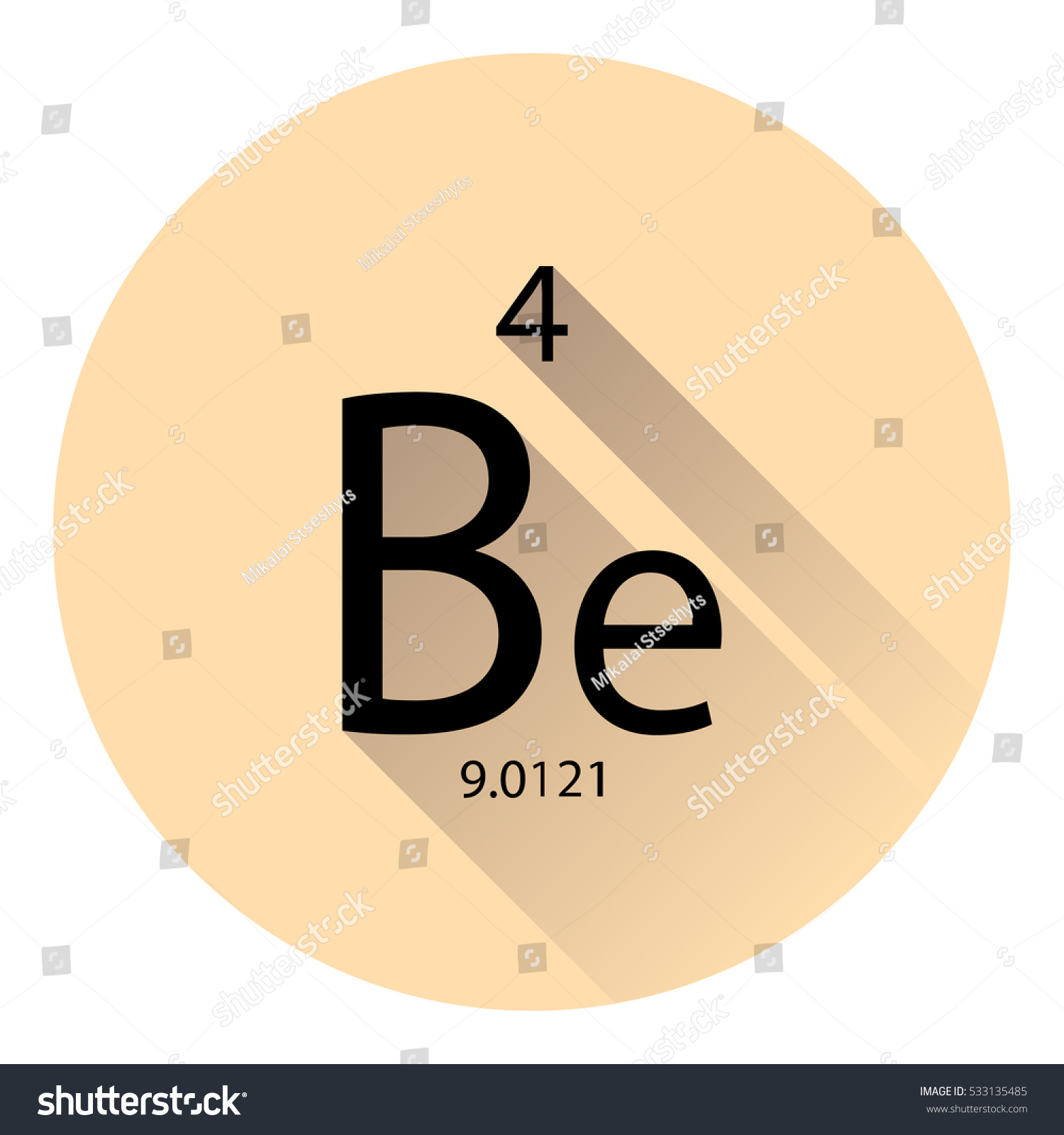 Periodic table element beryllium basic properties stock vector the periodic table element beryllium with the basic properties flat style with long shadow gamestrikefo Image collections