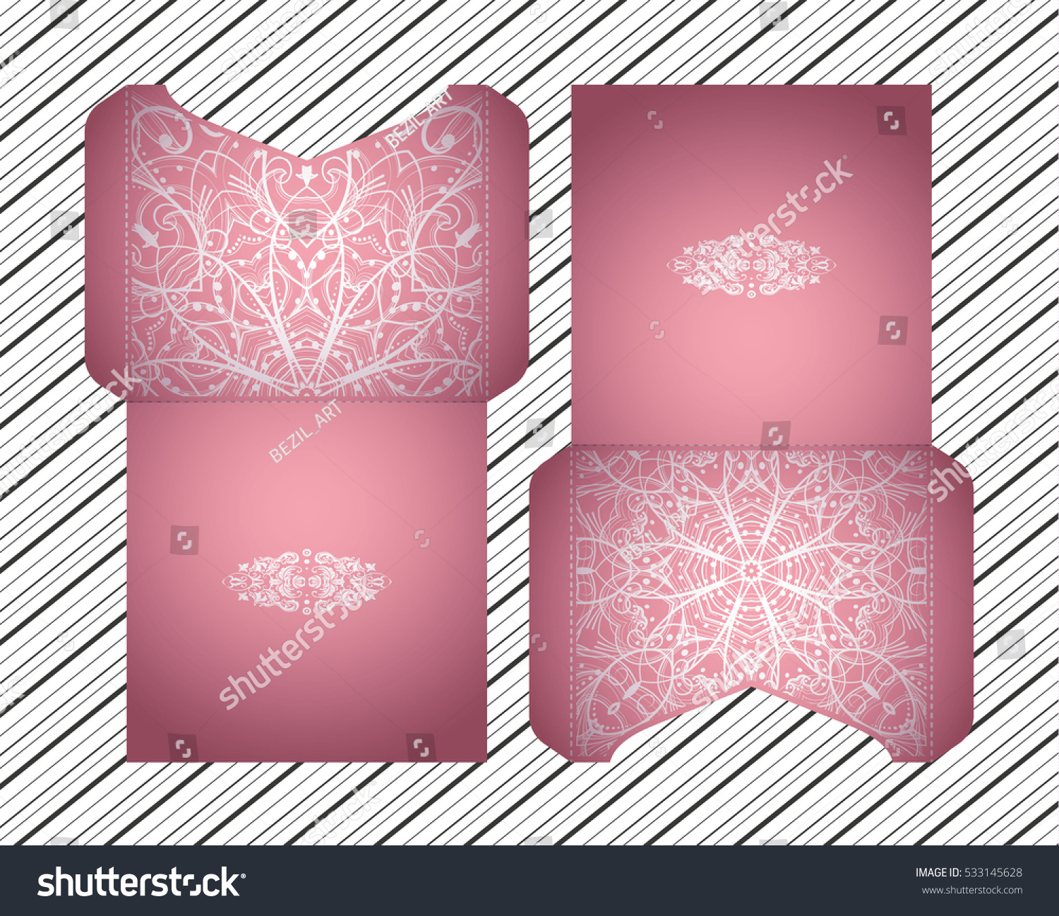 Vector Wedding Invitation Laser Cut Pattern Stock Vector 533145628 ...