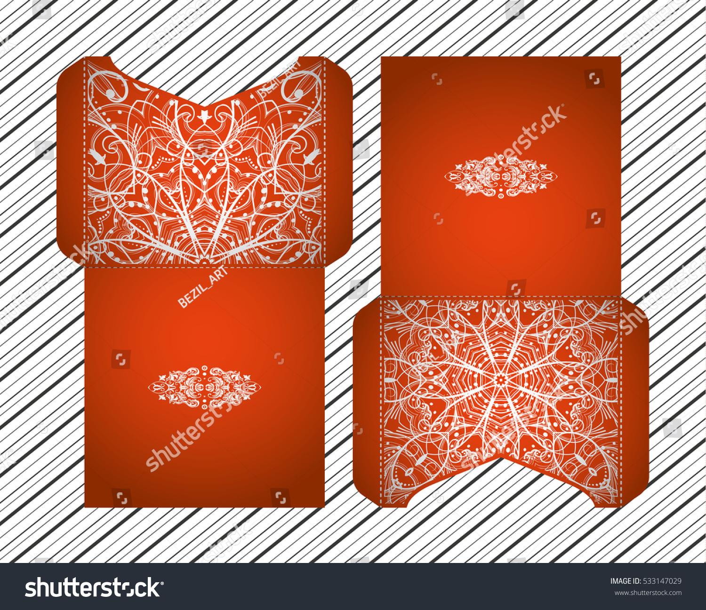 Vector Wedding Invitation Laser Cut Pattern Stock Vector 533147029 ...