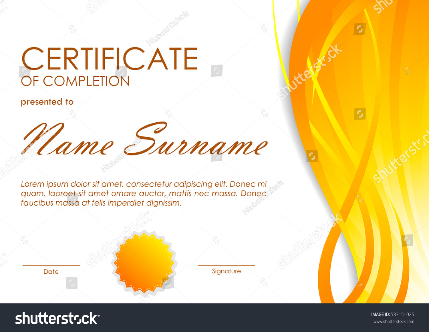 Certificate completion template orange dynamic light stock vector certificate of completion template with orange dynamic light wavy background and seal vector illustration yadclub Images