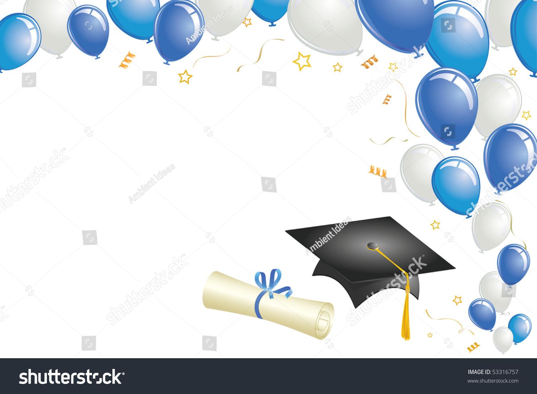 graduation celebration balloons cap diploma gold stock vector