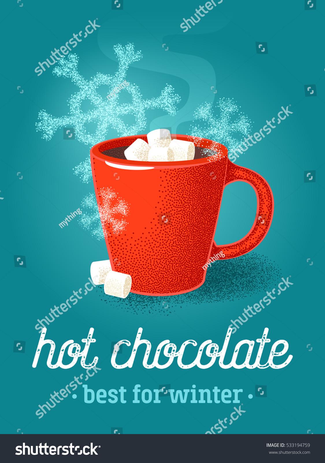 Colorful Poster Red Mug Hot Chocolate Stockvektorgrafik 533194759