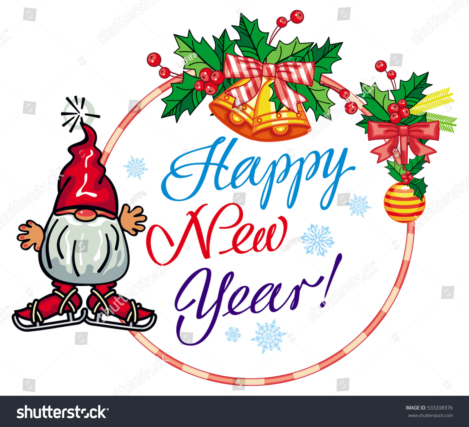holiday round label with christmas decorations funny gnome and greeting text happy new year