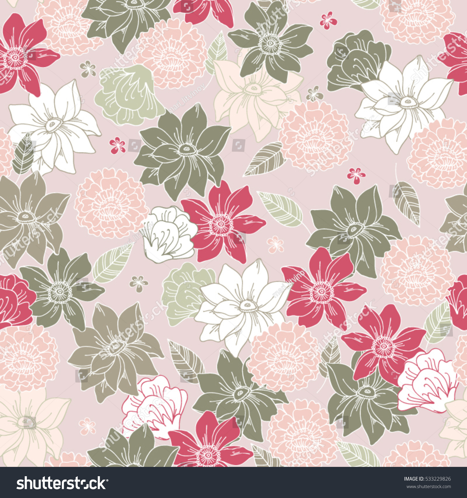Pink floral seamless vector background floral hrysanthemum seamless - Floral Vector Seamless Pattern With Daisy Lilly Chrysanthemum Graphic Flowers Of Pale Pink