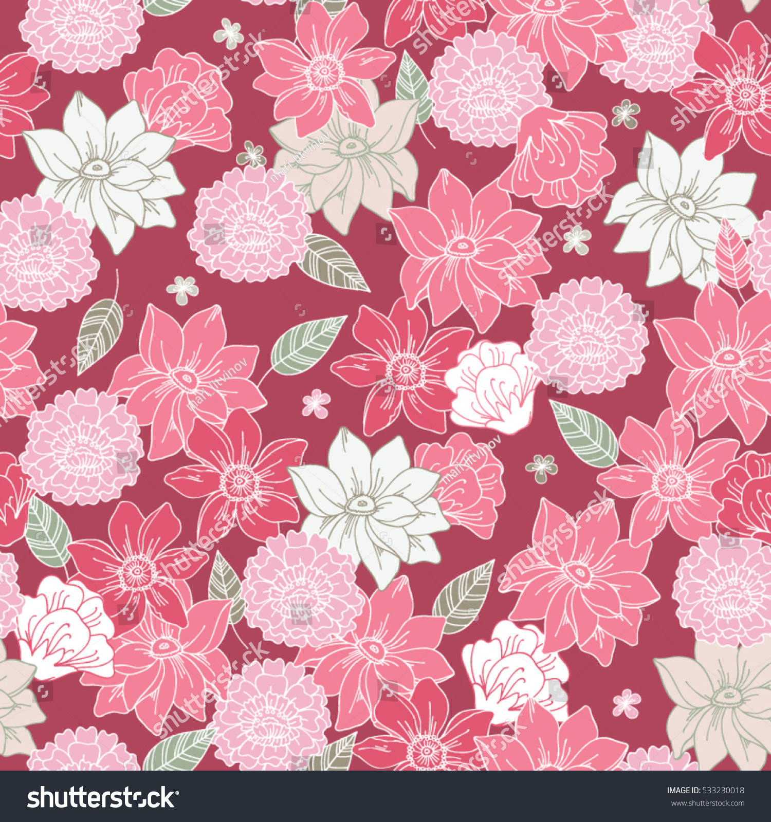 Pink floral seamless vector background floral hrysanthemum seamless - Floral Vector Seamless Pattern With Daisy Lilly Chrysanthemum Graphic Flowers On Pale Fuchsia Background