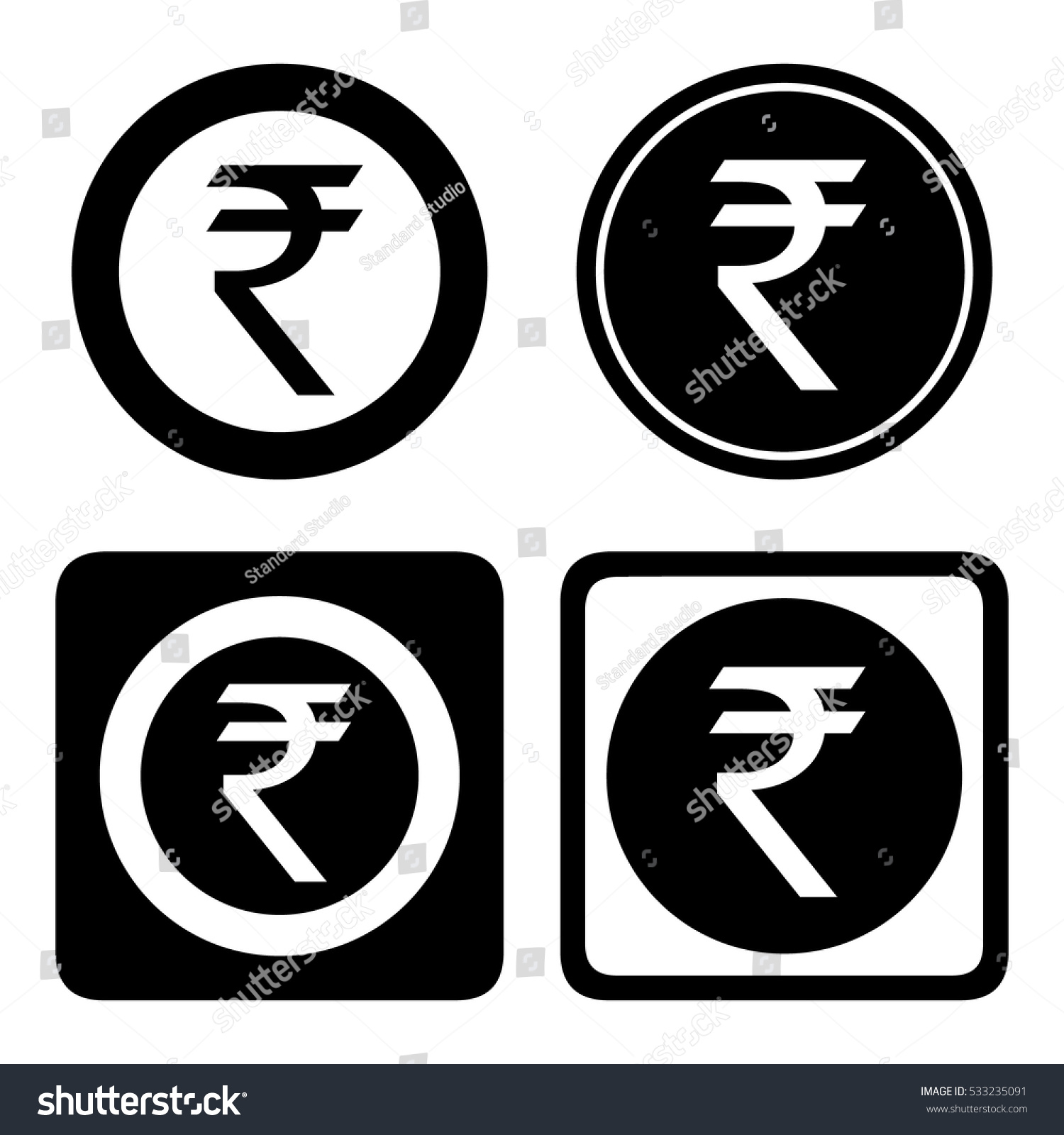 Indian Rupee Cashier Icon Set Inr Stock Vector Royalty Free