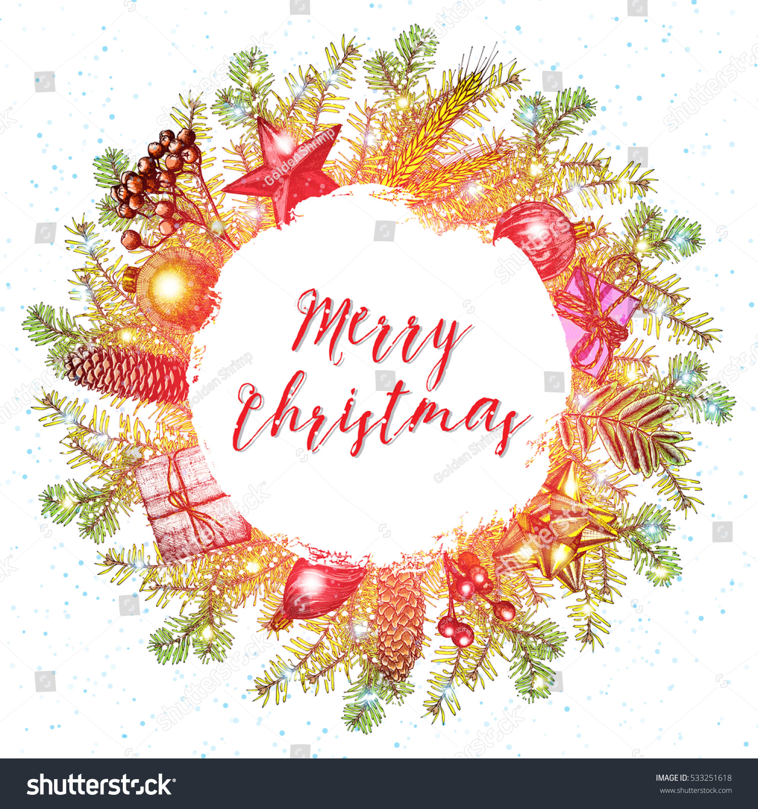 Merry christmas text calligraphic lettering design stock vector merry christmas text calligraphic lettering design card template handdrawn creative typography for holiday greeting kristyandbryce Image collections