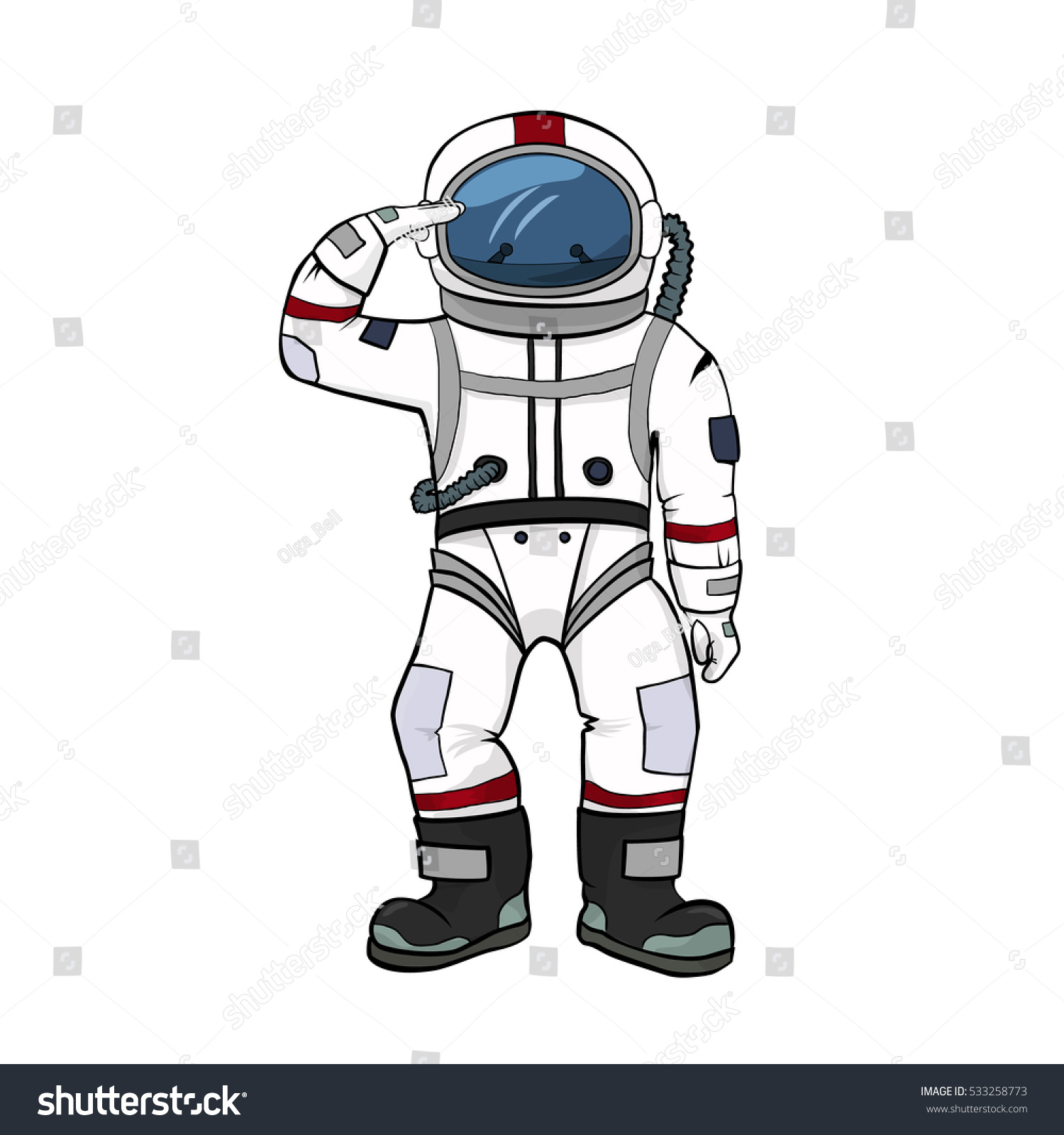 Astronaut Salutes Isolated On White Background Stock ...