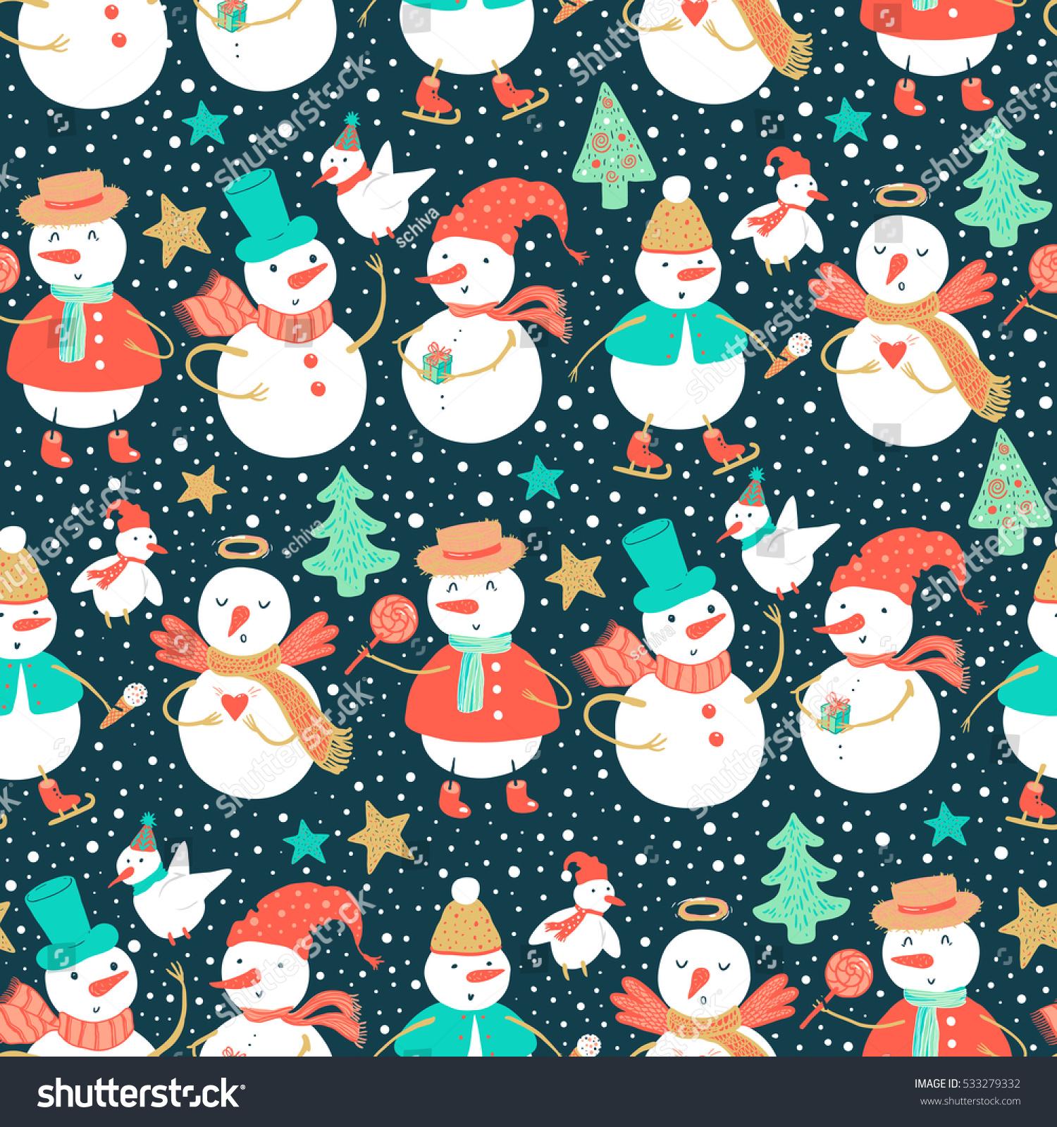 vector holidays pattern funny snowman birds stock vector 533279332