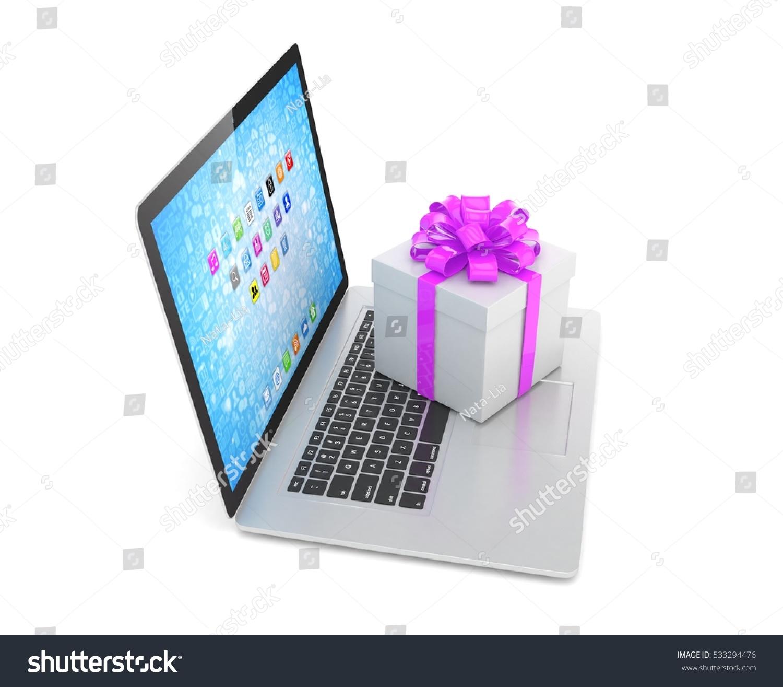 Gift Box Ribbon On Laptop Keyboard Stock Illustration 533294476