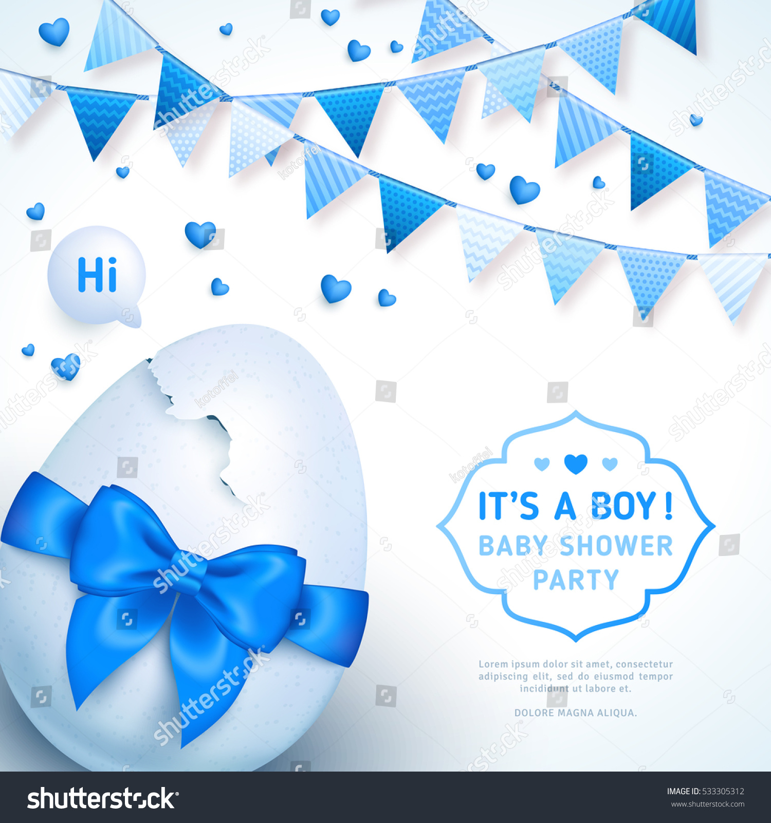 Itu0027s A Boy Baby Shower Concept With Blue Ribbon Bow And Cracked Egg. Vector  Illustration