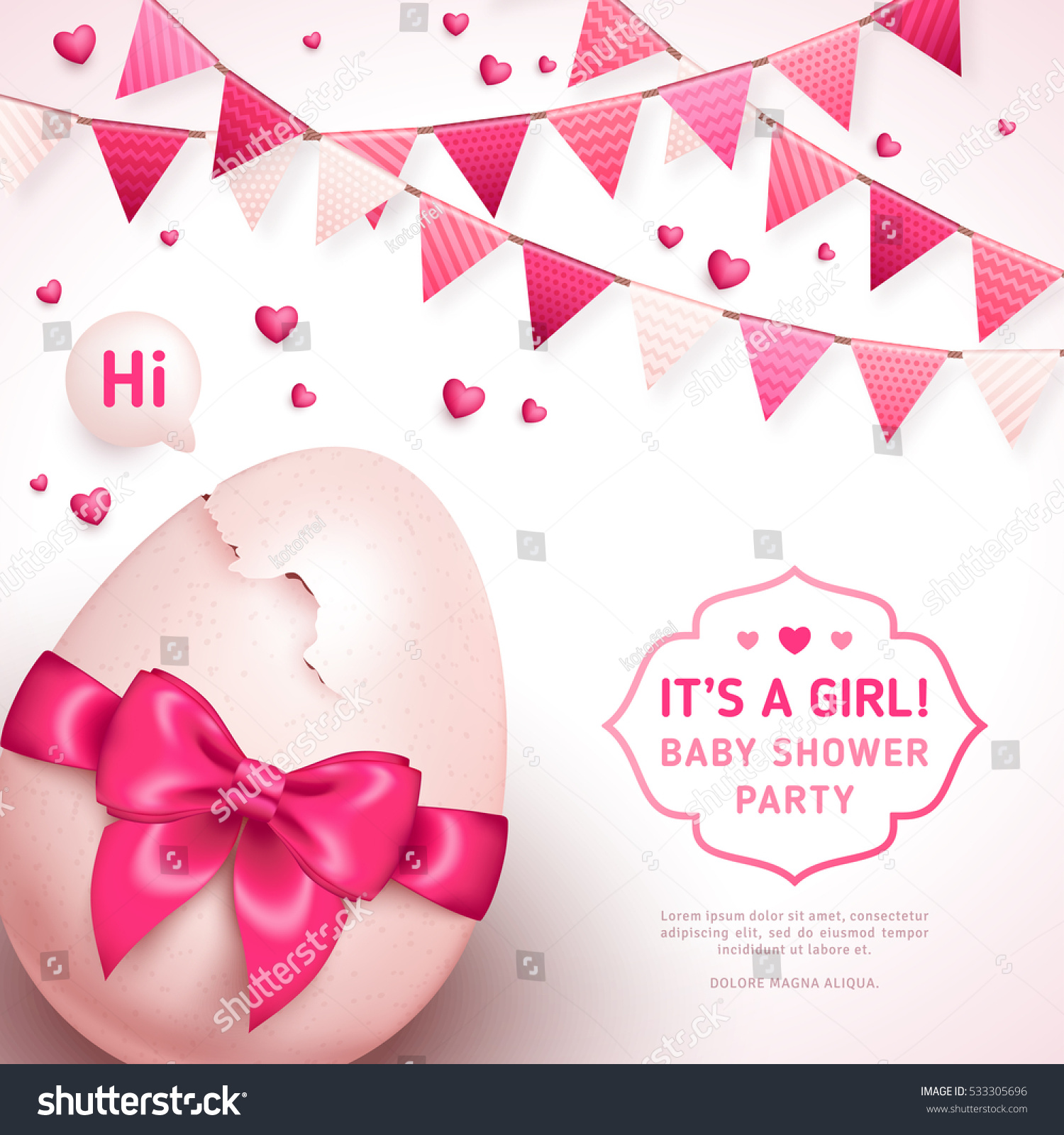 Girl Baby Shower Concept Pink Ribbon Stock Vector
