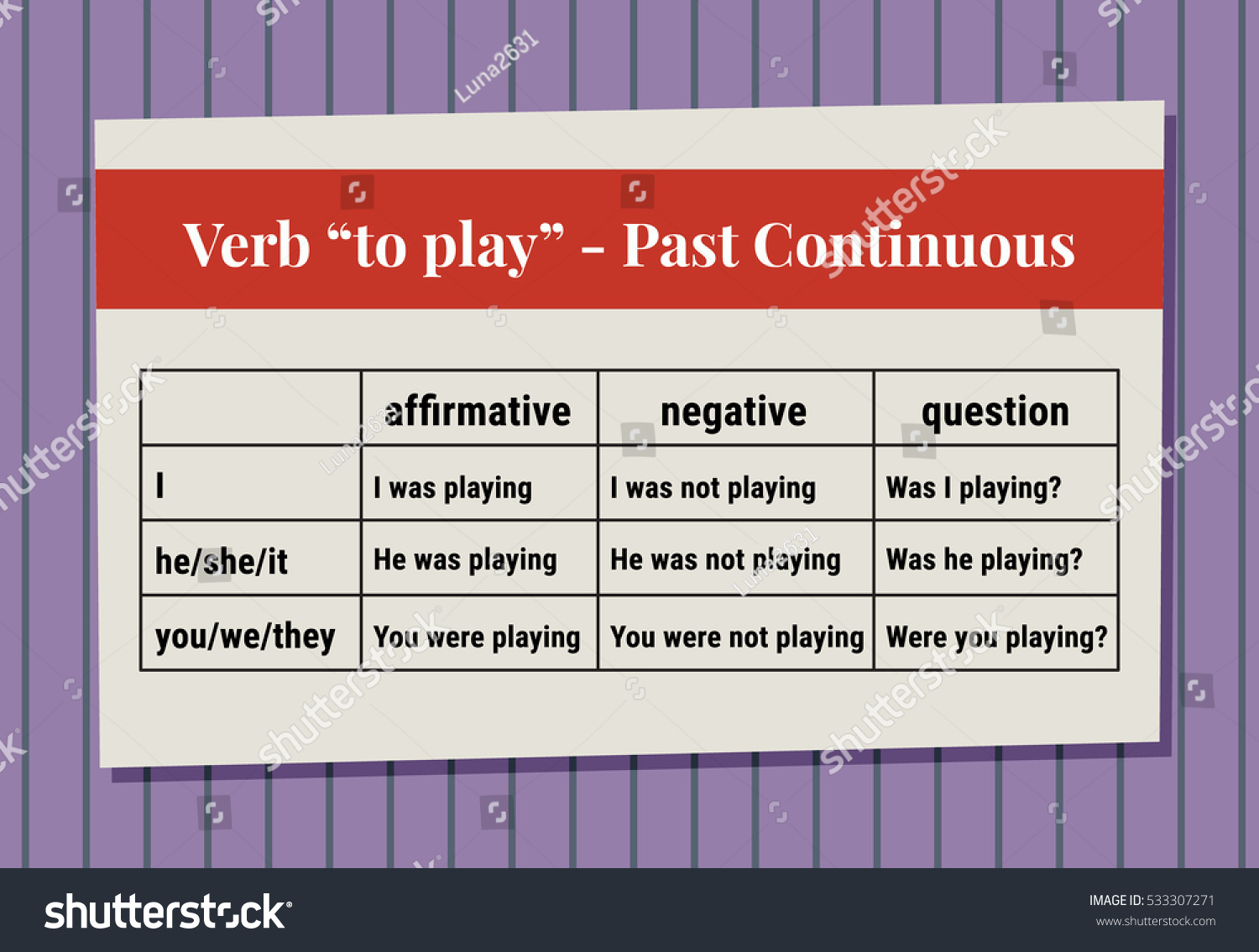 English Grammar Verb Play Past Continuous Stock Vector (Royalty Free
