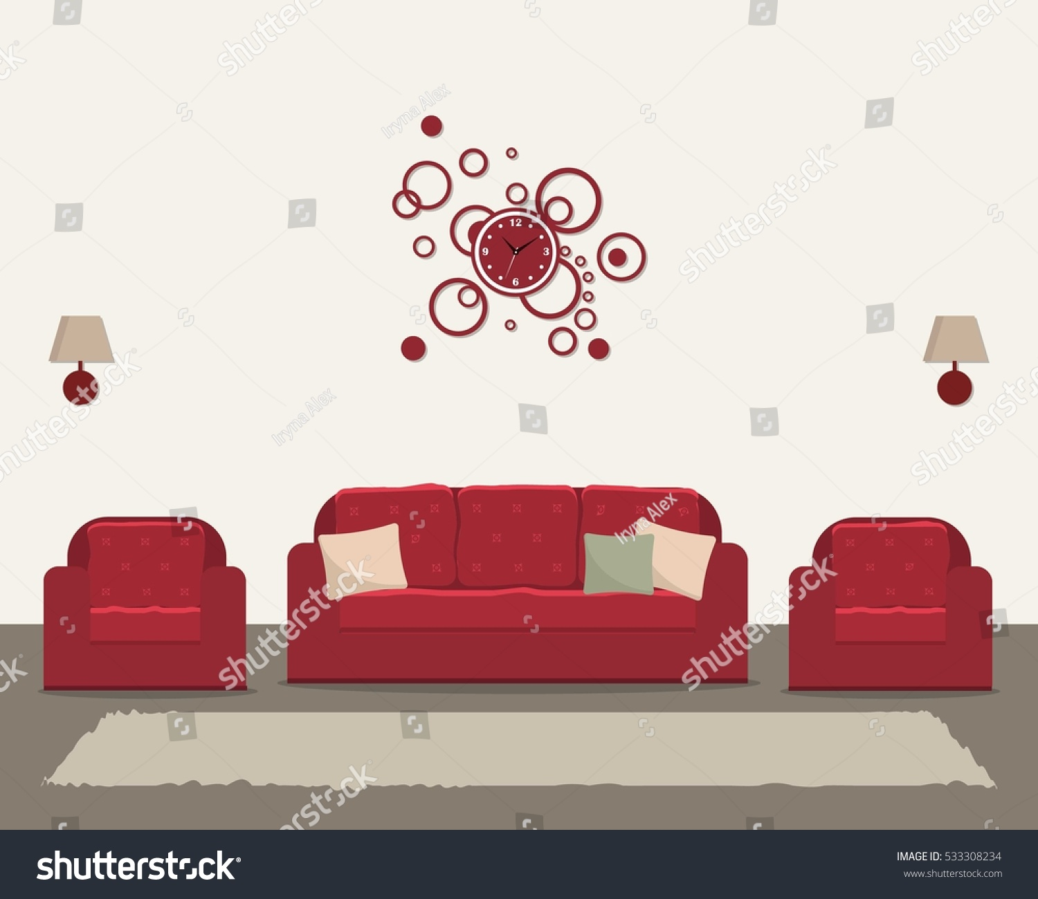 Living Room Red Furniture Round Clock Stock Vector 533308234 ...