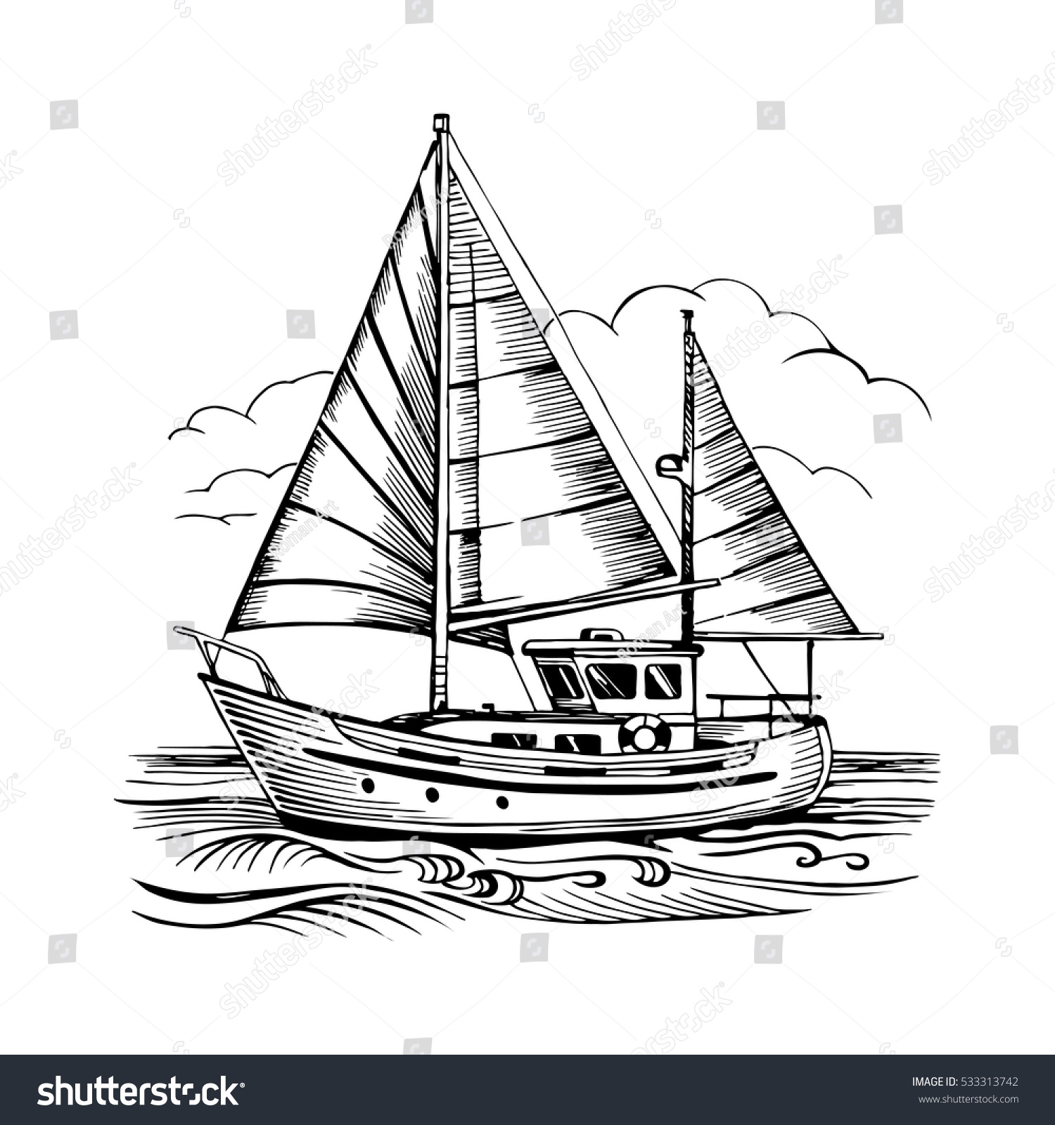 sailing boat vector sketch isolated clouds stock vector 533313742