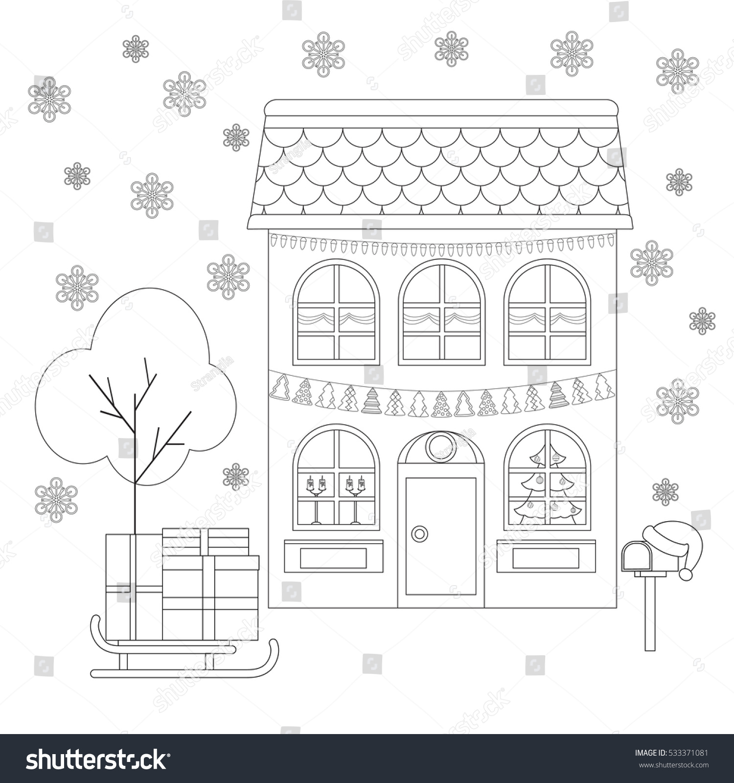 coloring page house decoration christmas sleigh stock vector