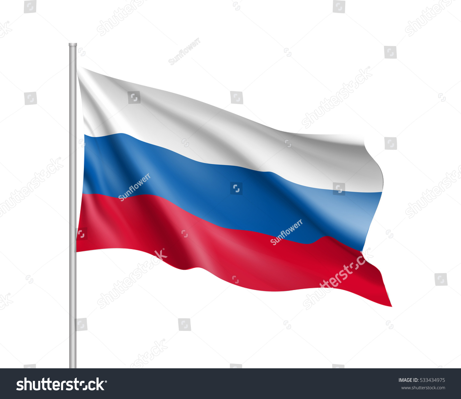 vector template russia flag on metallic stock vector 533434975