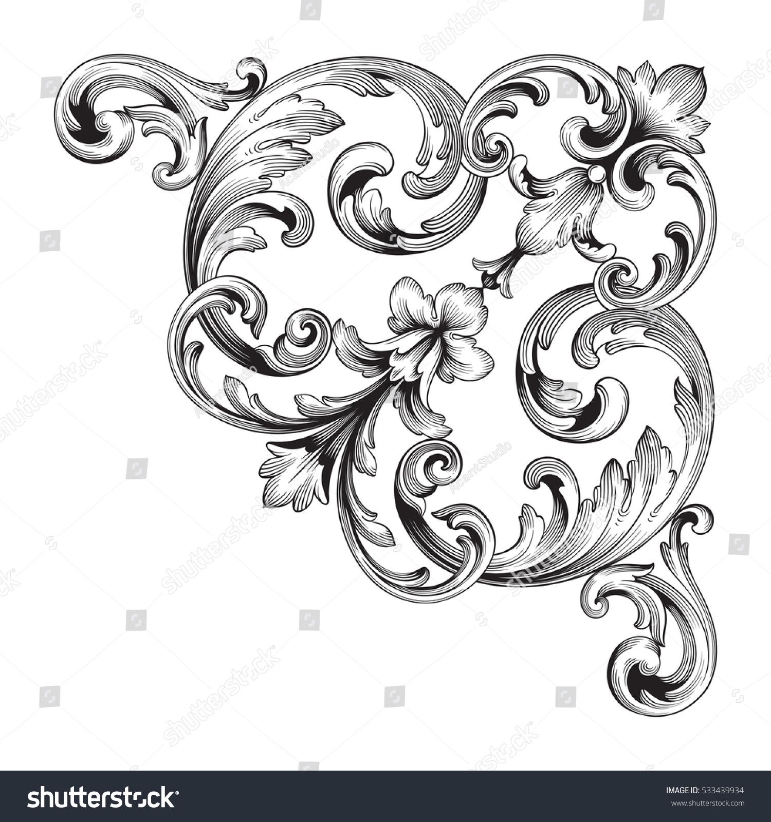 Vintage Baroque Corner Ornament Retro Pattern Stock Vector ...