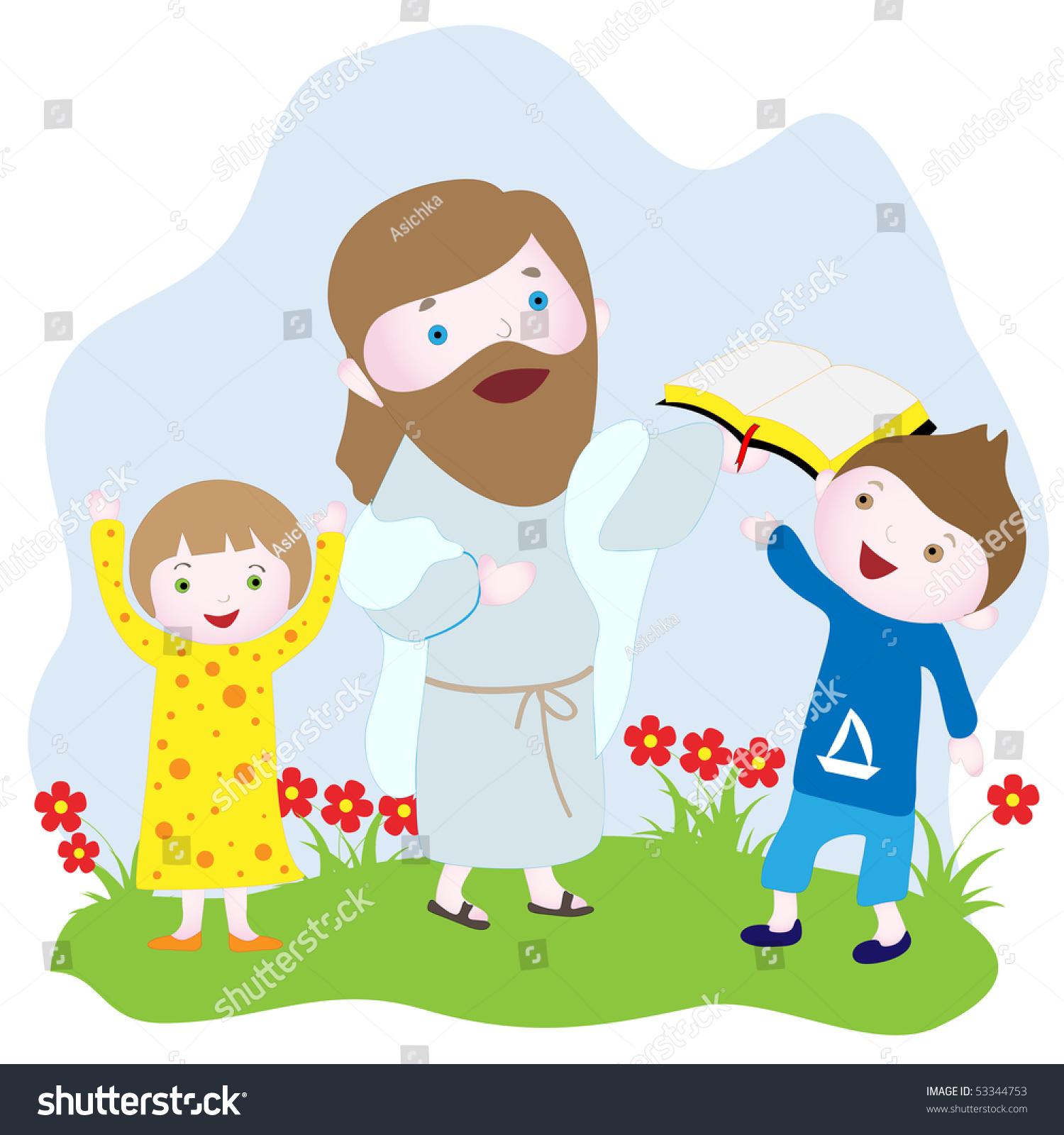 children jesus holding bible vector drawing stock vector 53344753