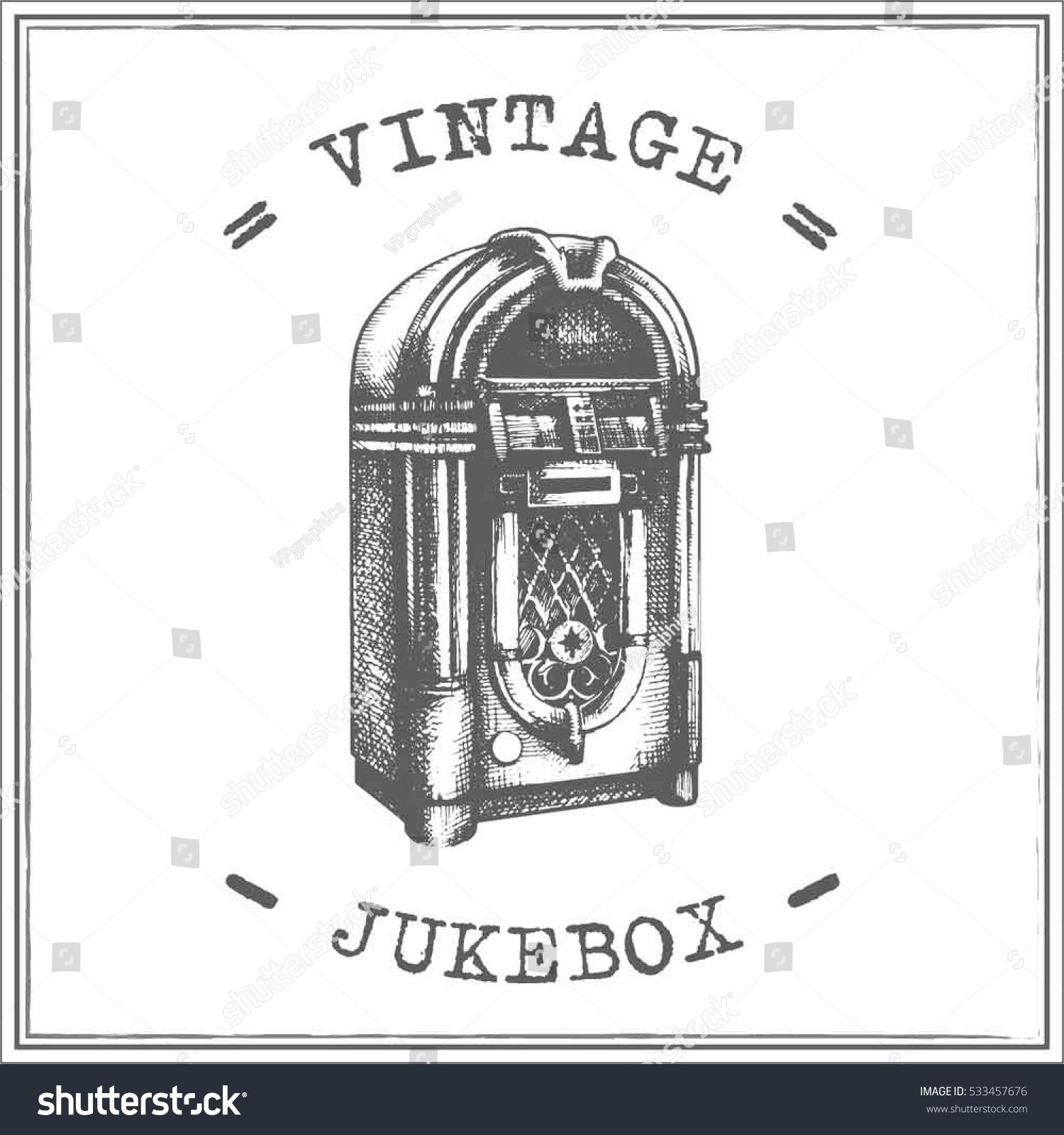 Line Art Jukebox : Vintage jukebox vector stock shutterstock