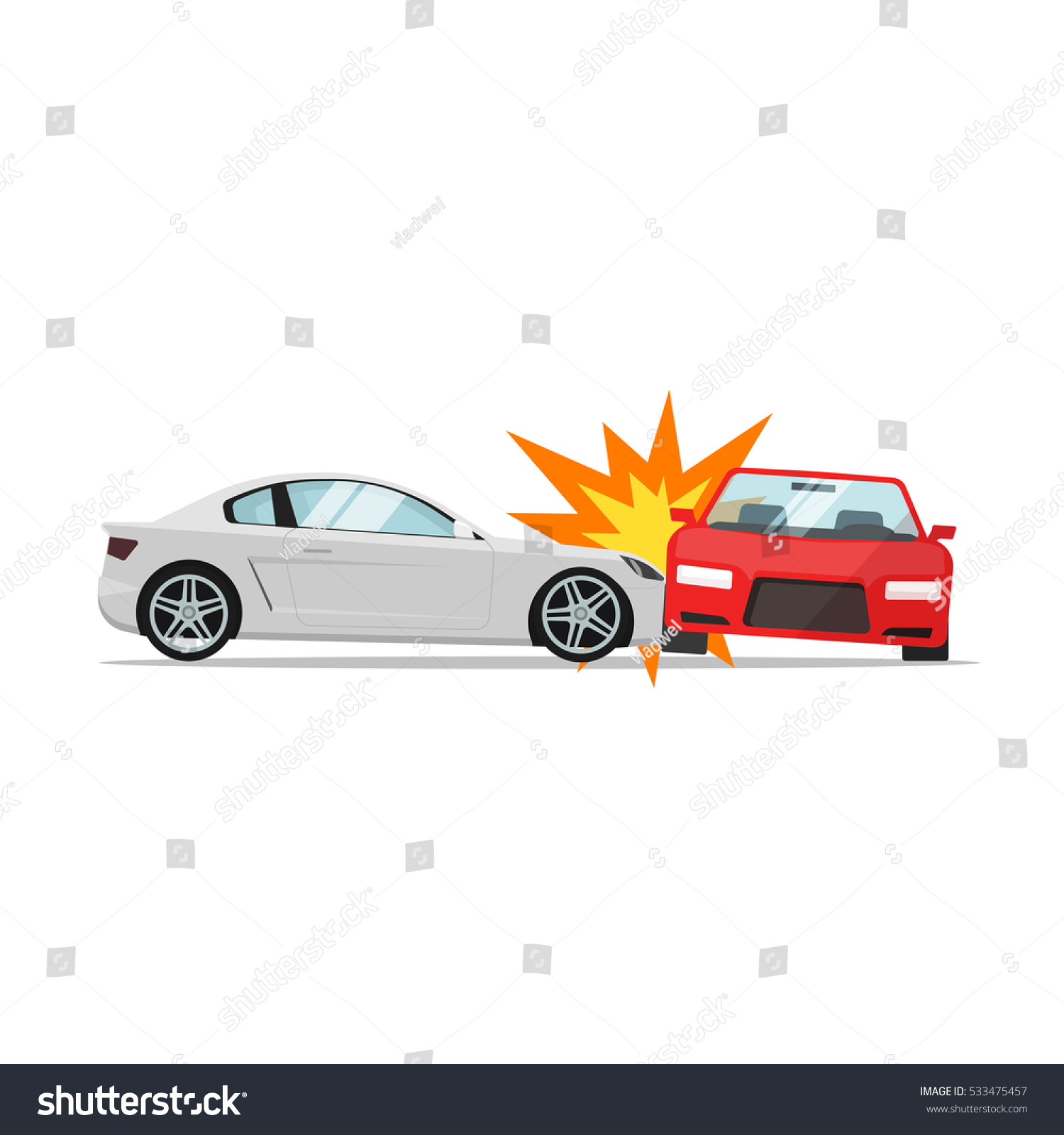 Car Crash Vector Illustration Flat Cartoon Stock Vector 533475457 ...