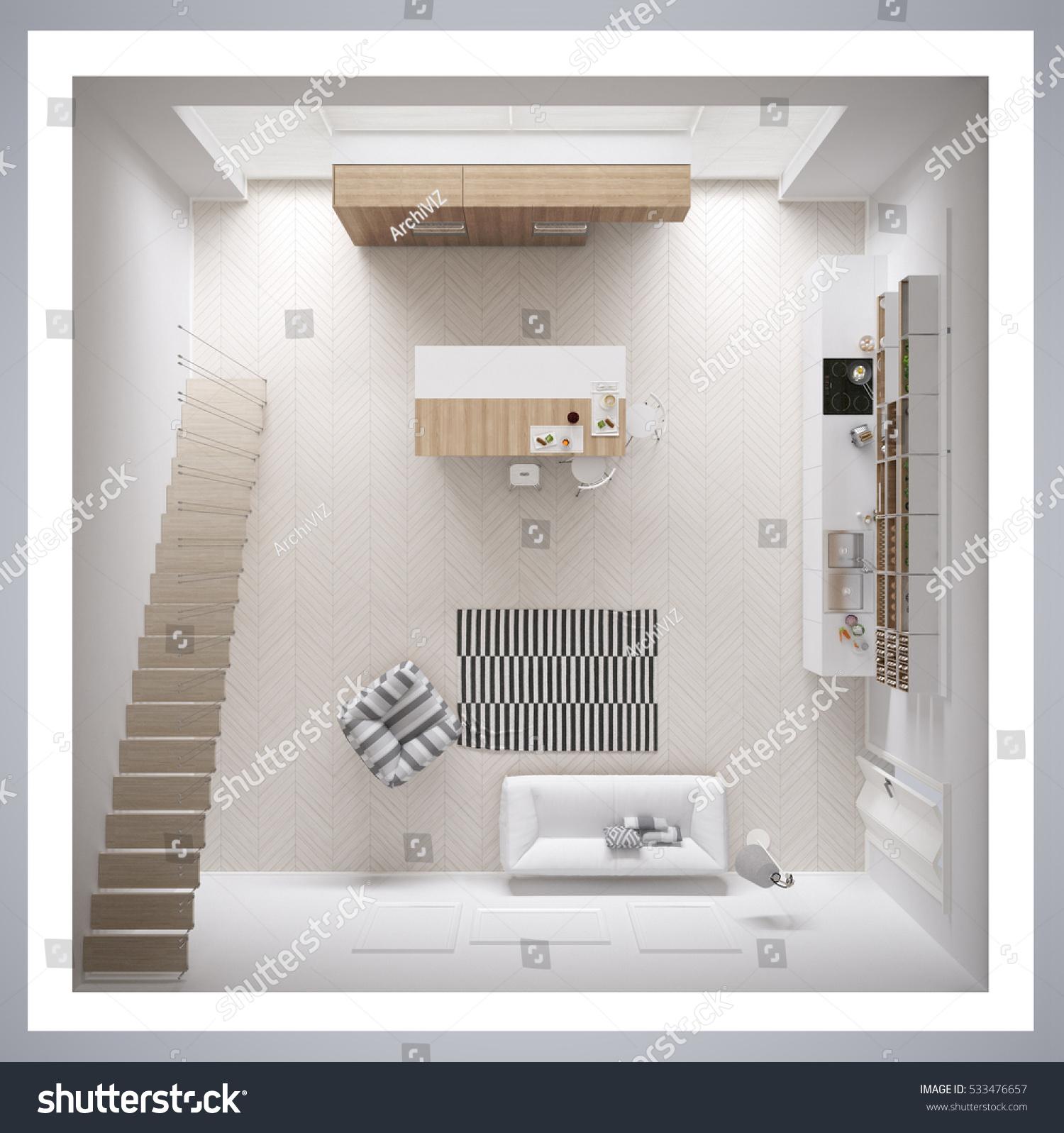 Scandinavian White Kitchen Minimalistic Interior Design Cross Section Top View 3d Illustration