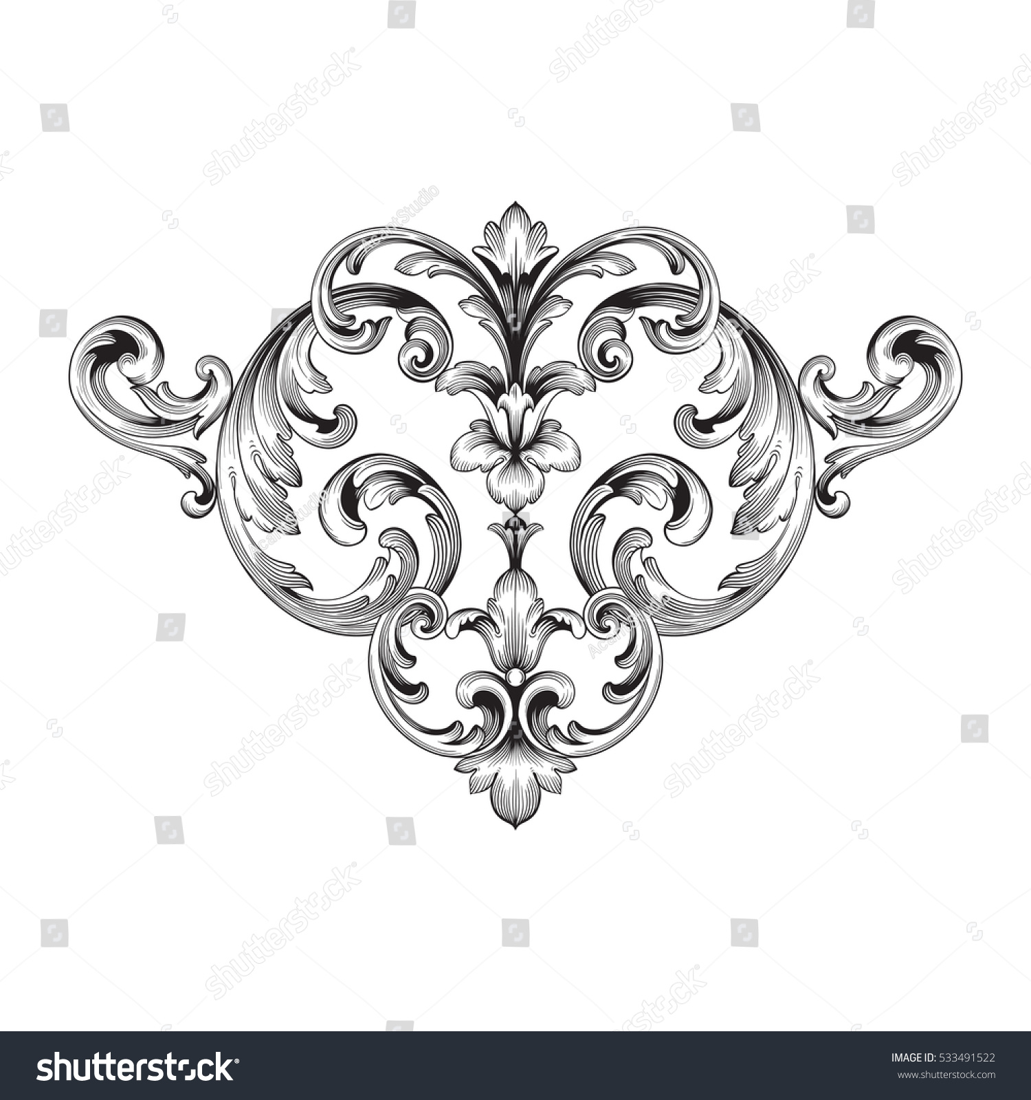 Vintage Baroque Corner Ornament Retro Pattern Stock Vector